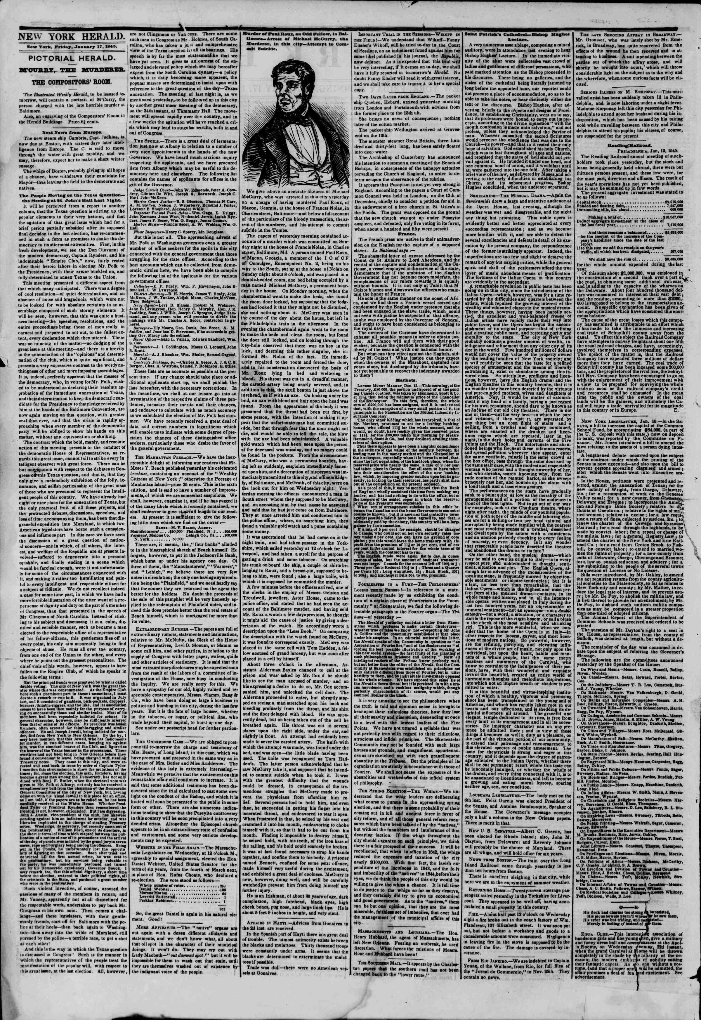 January 17, 1845 Tarihli The New York Herald Gazetesi Sayfa 2