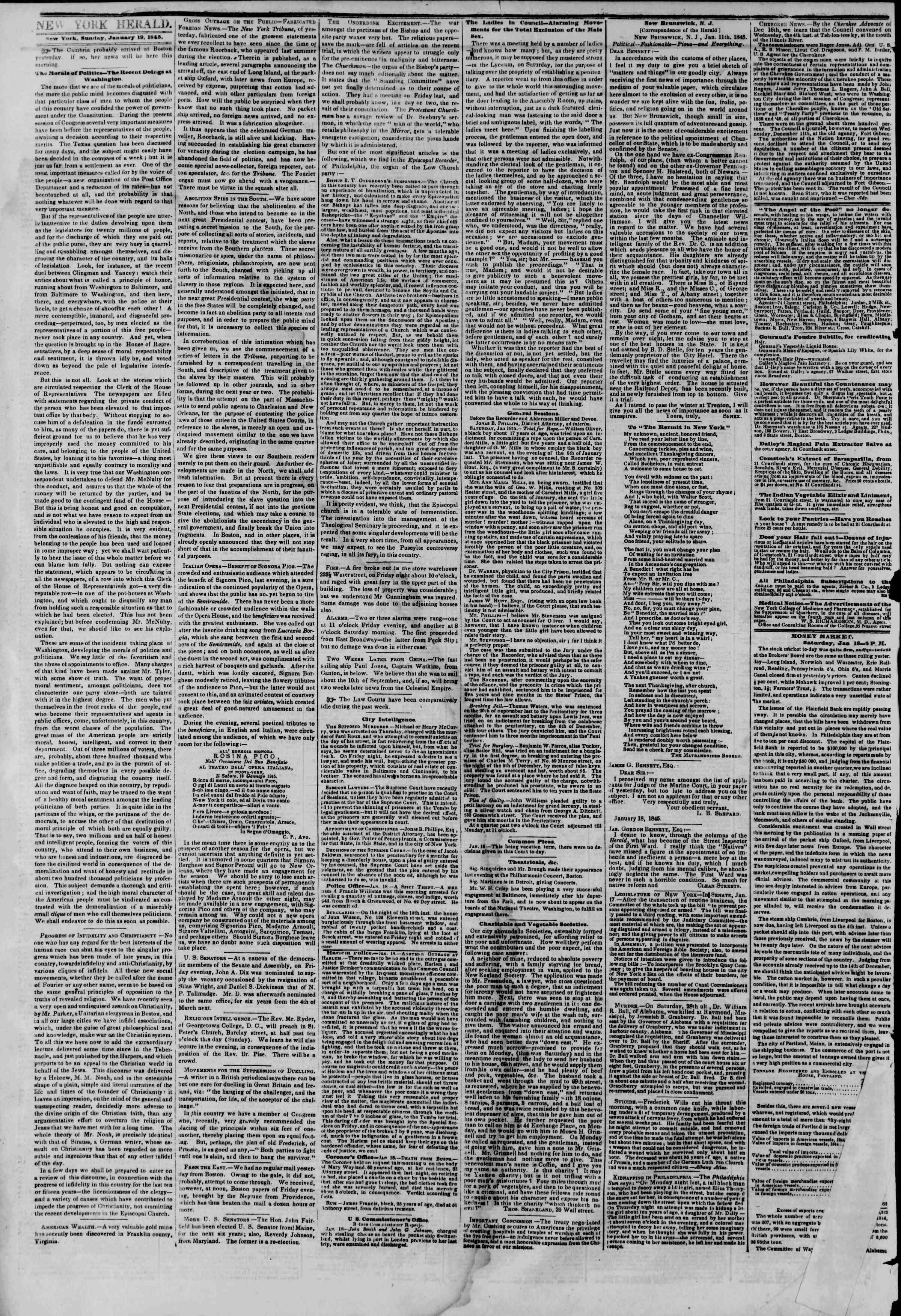 January 19, 1845 Tarihli The New York Herald Gazetesi Sayfa 2