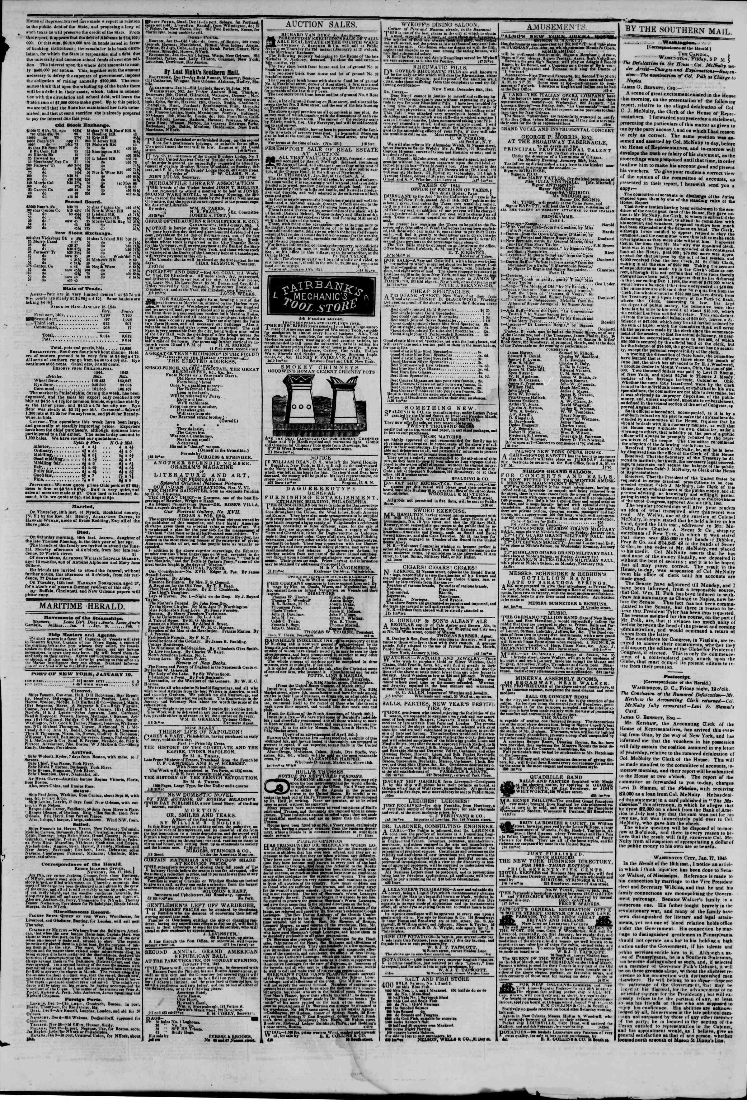 Newspaper of The New York Herald dated January 19, 1845 Page 3