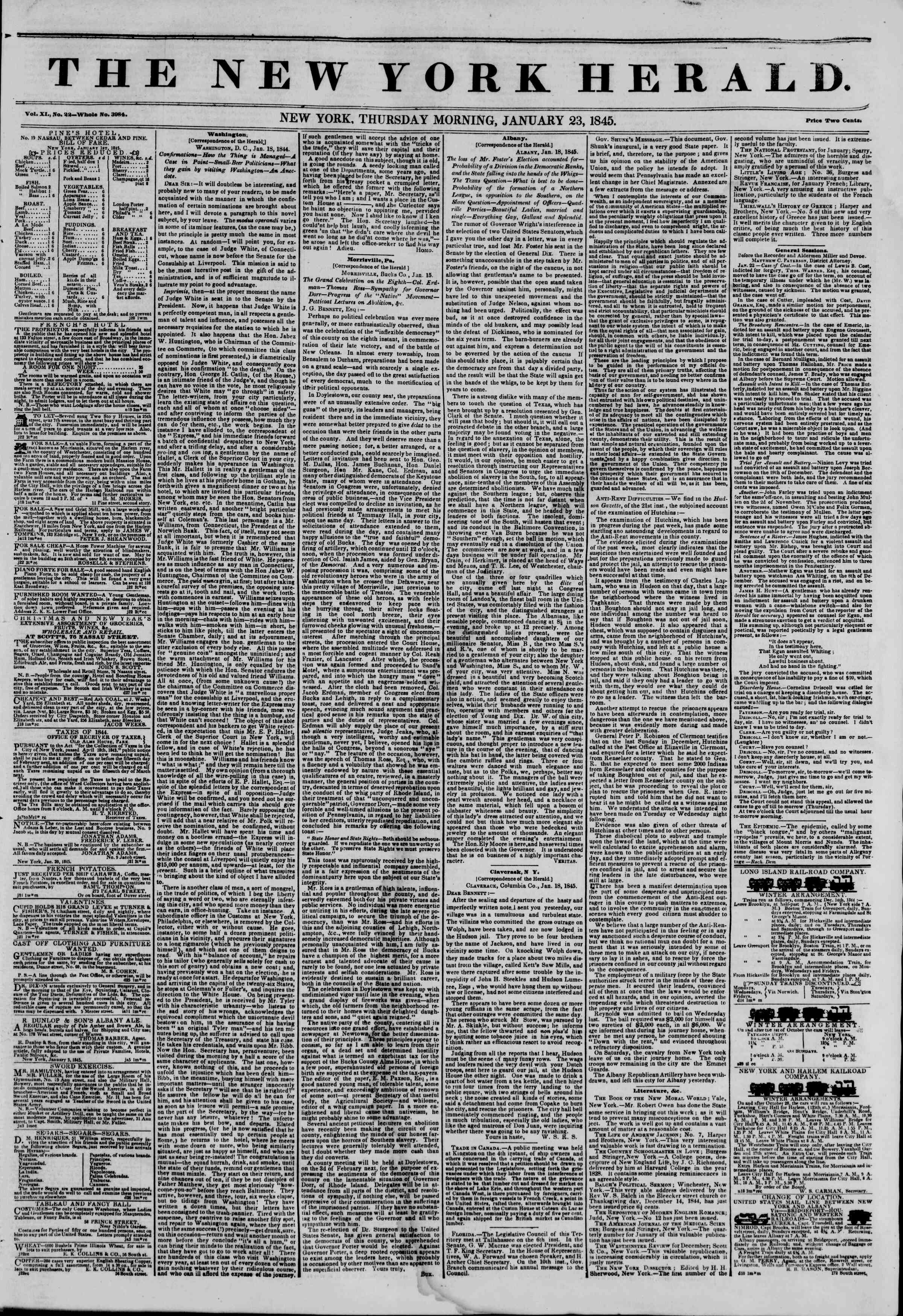 Newspaper of The New York Herald dated January 23, 1845 Page 1