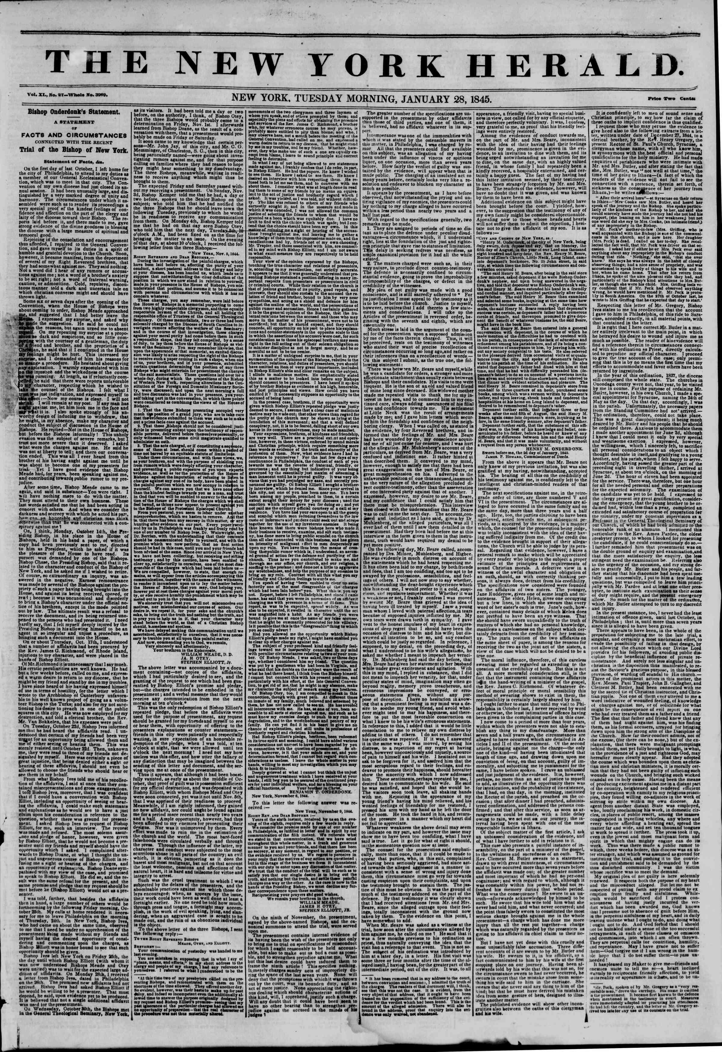 January 28, 1845 Tarihli The New York Herald Gazetesi Sayfa 1