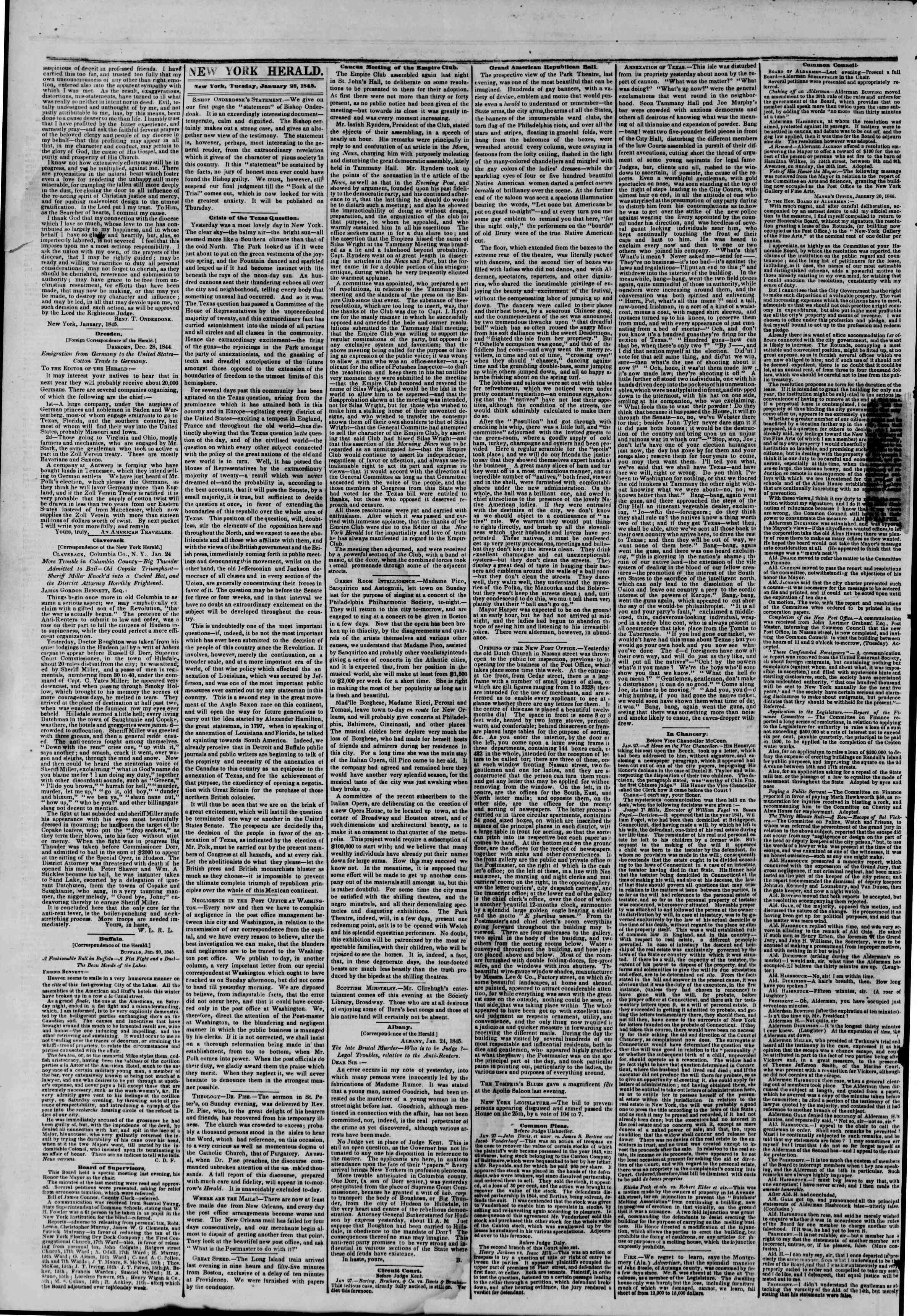 January 28, 1845 Tarihli The New York Herald Gazetesi Sayfa 2