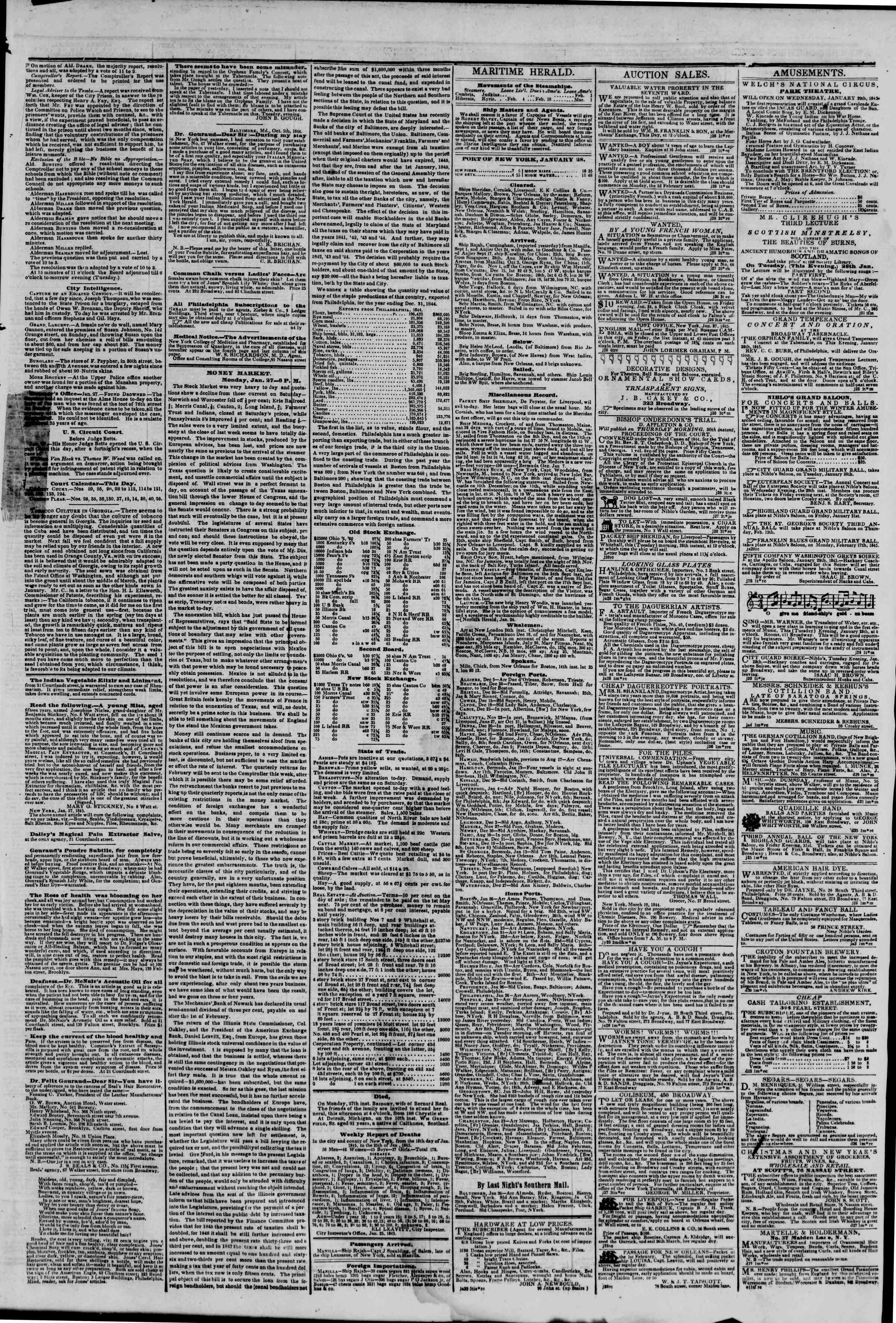 28 Ocak 1845 tarihli The New York Herald Gazetesi Sayfa 3