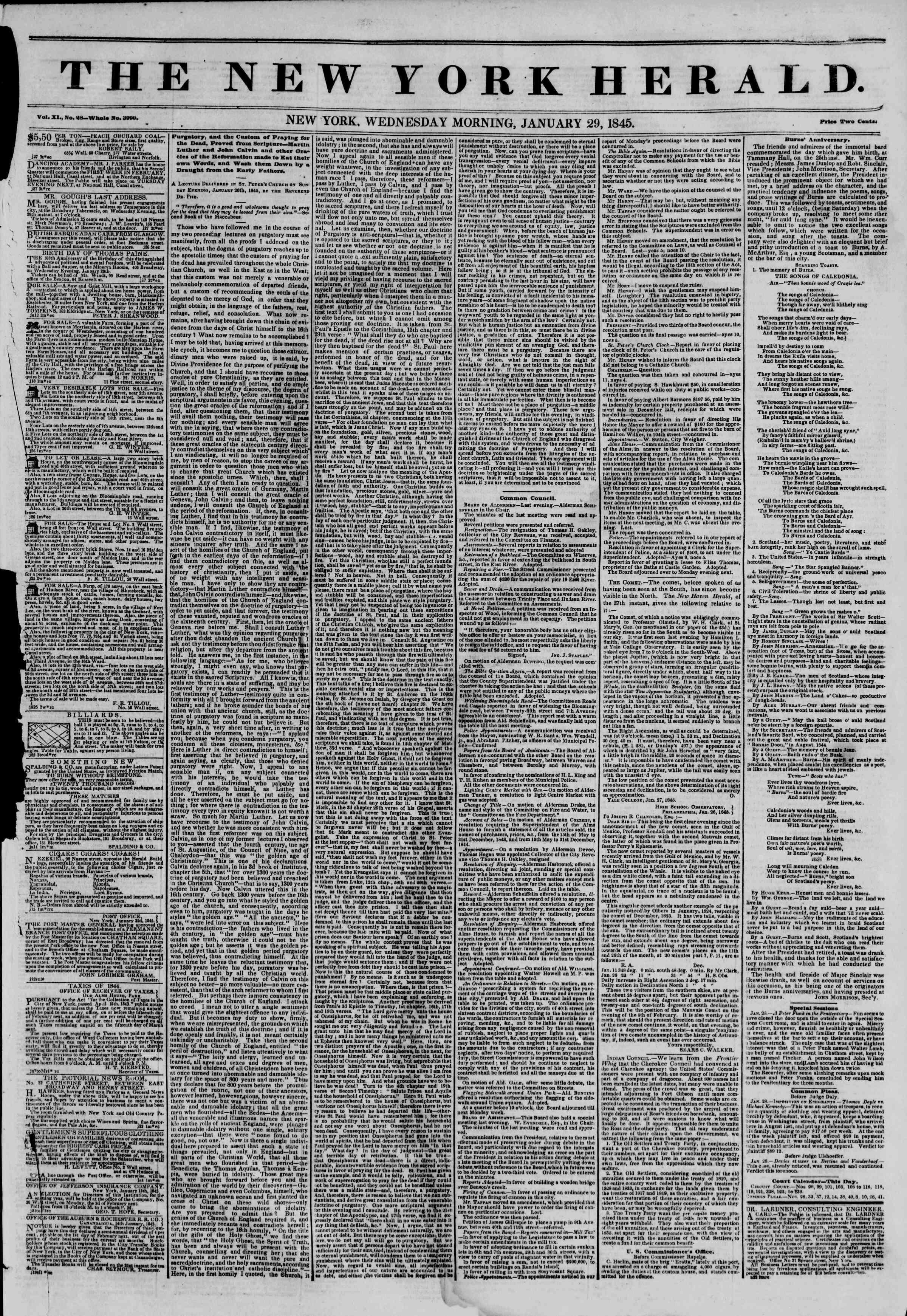 January 29, 1845 Tarihli The New York Herald Gazetesi Sayfa 1