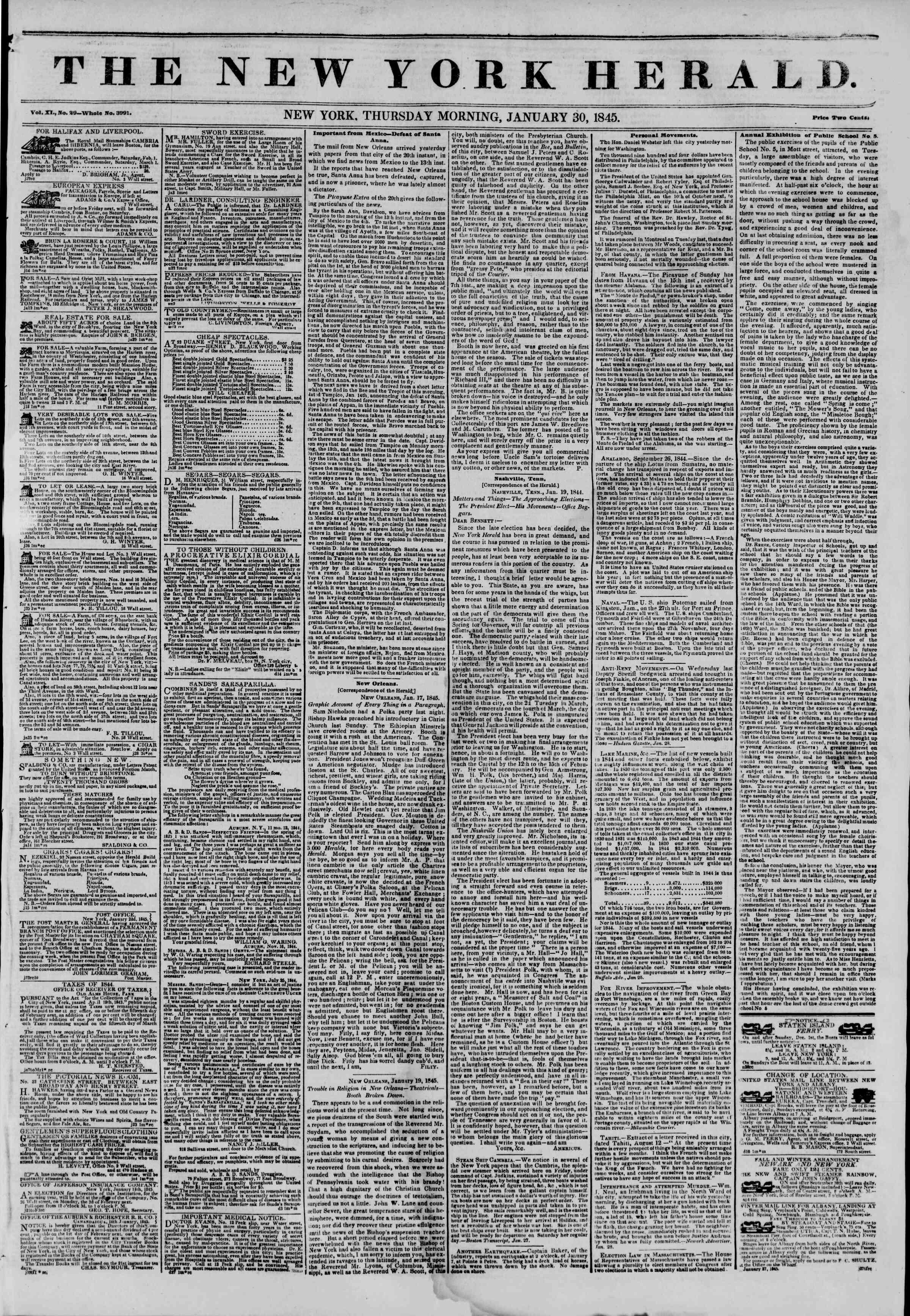 January 30, 1845 Tarihli The New York Herald Gazetesi Sayfa 1
