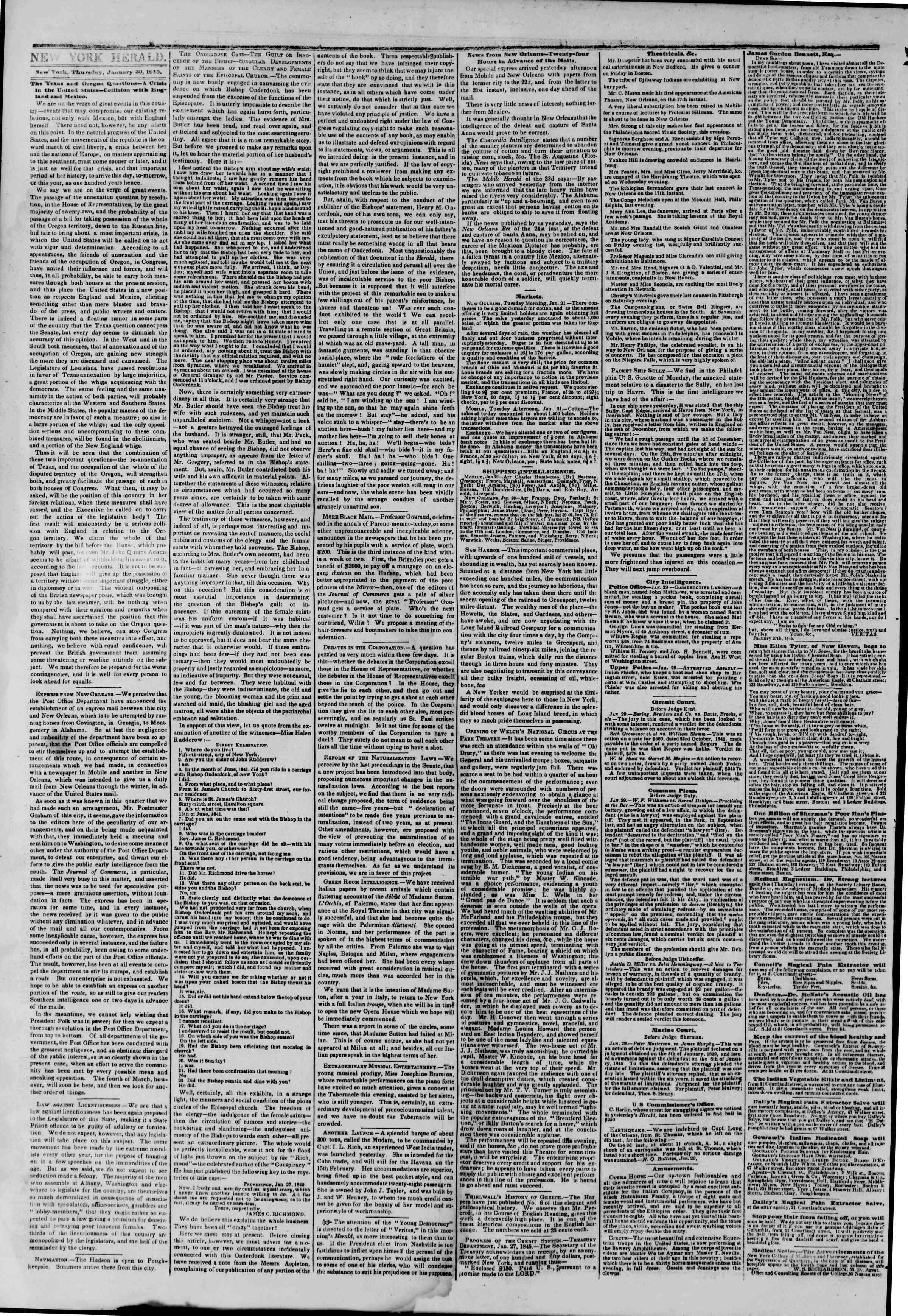 January 30, 1845 Tarihli The New York Herald Gazetesi Sayfa 2