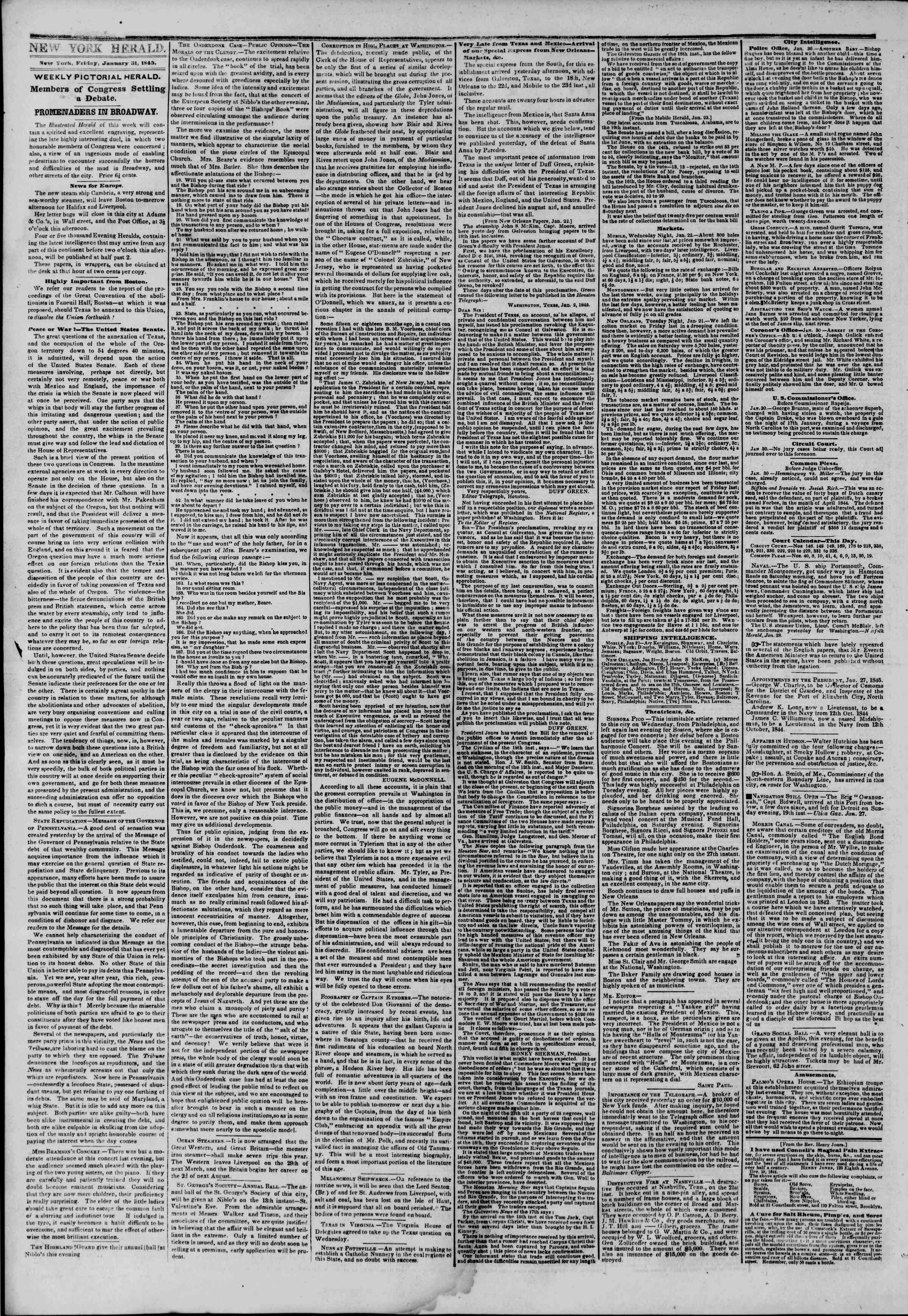 Newspaper of The New York Herald dated January 31, 1845 Page 2
