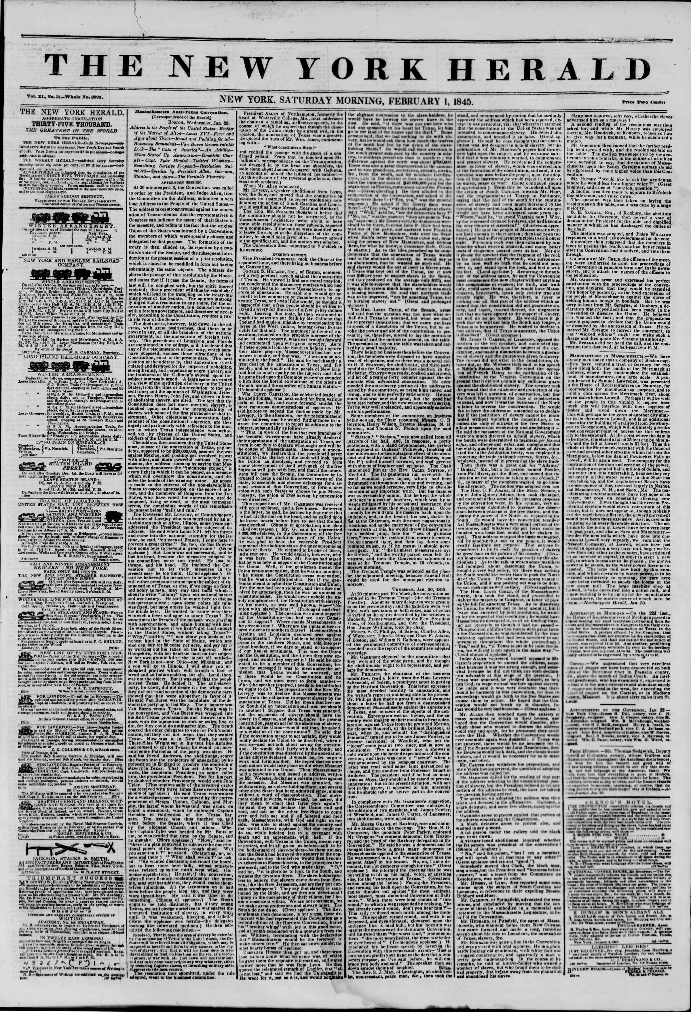 February 1, 1845 Tarihli The New York Herald Gazetesi Sayfa 1