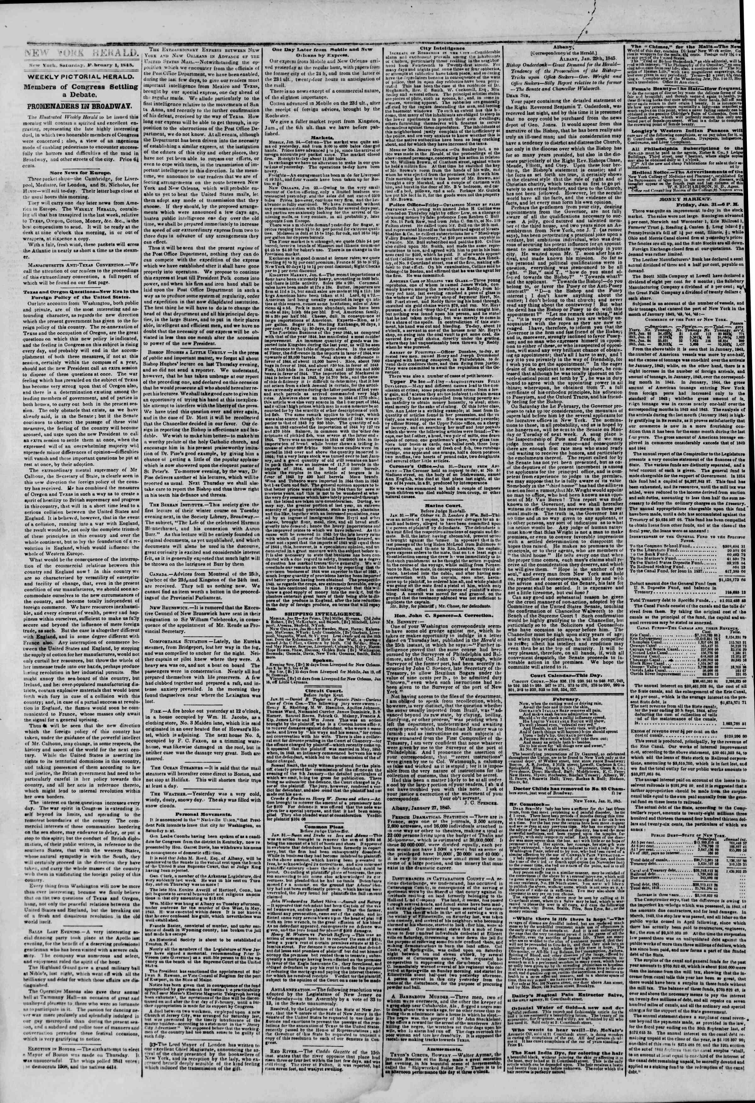 February 1, 1845 Tarihli The New York Herald Gazetesi Sayfa 2