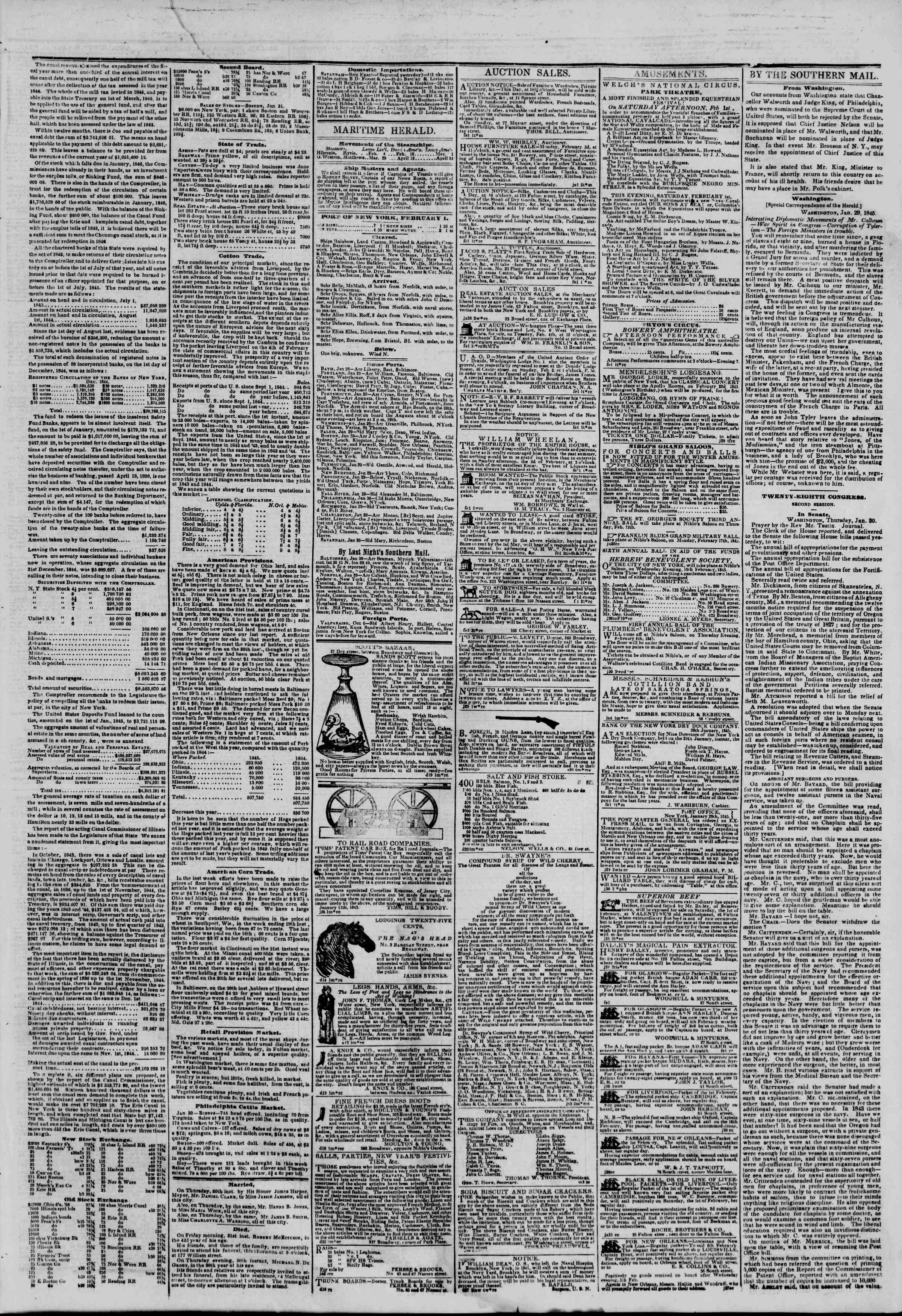 February 1, 1845 Tarihli The New York Herald Gazetesi Sayfa 3