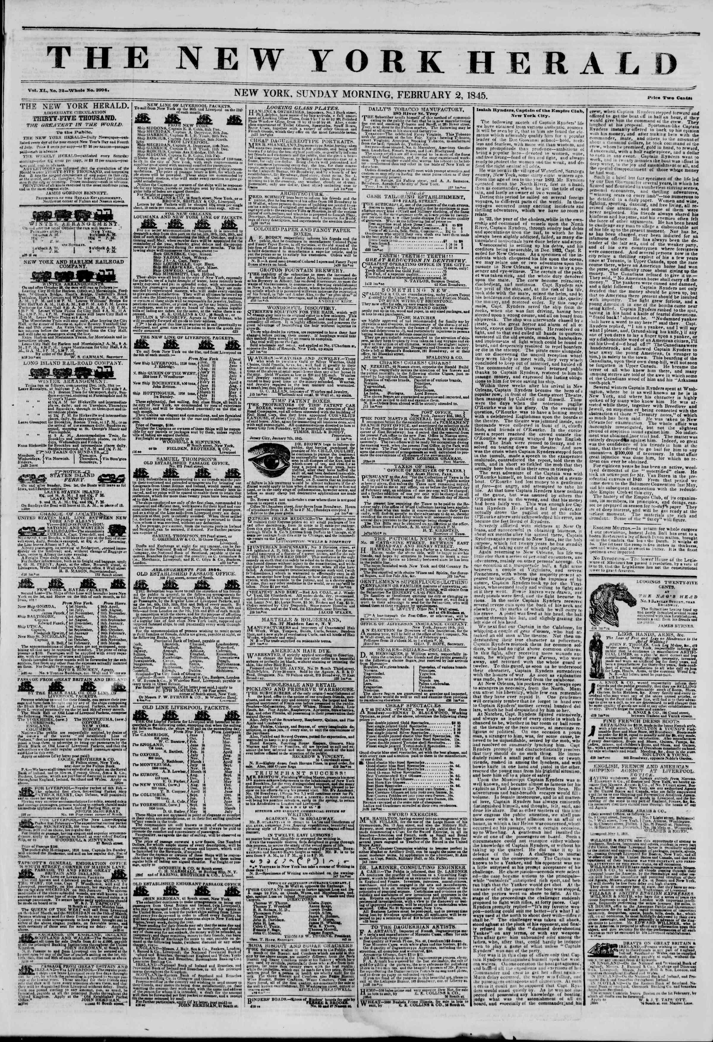 February 2, 1845 Tarihli The New York Herald Gazetesi Sayfa 1