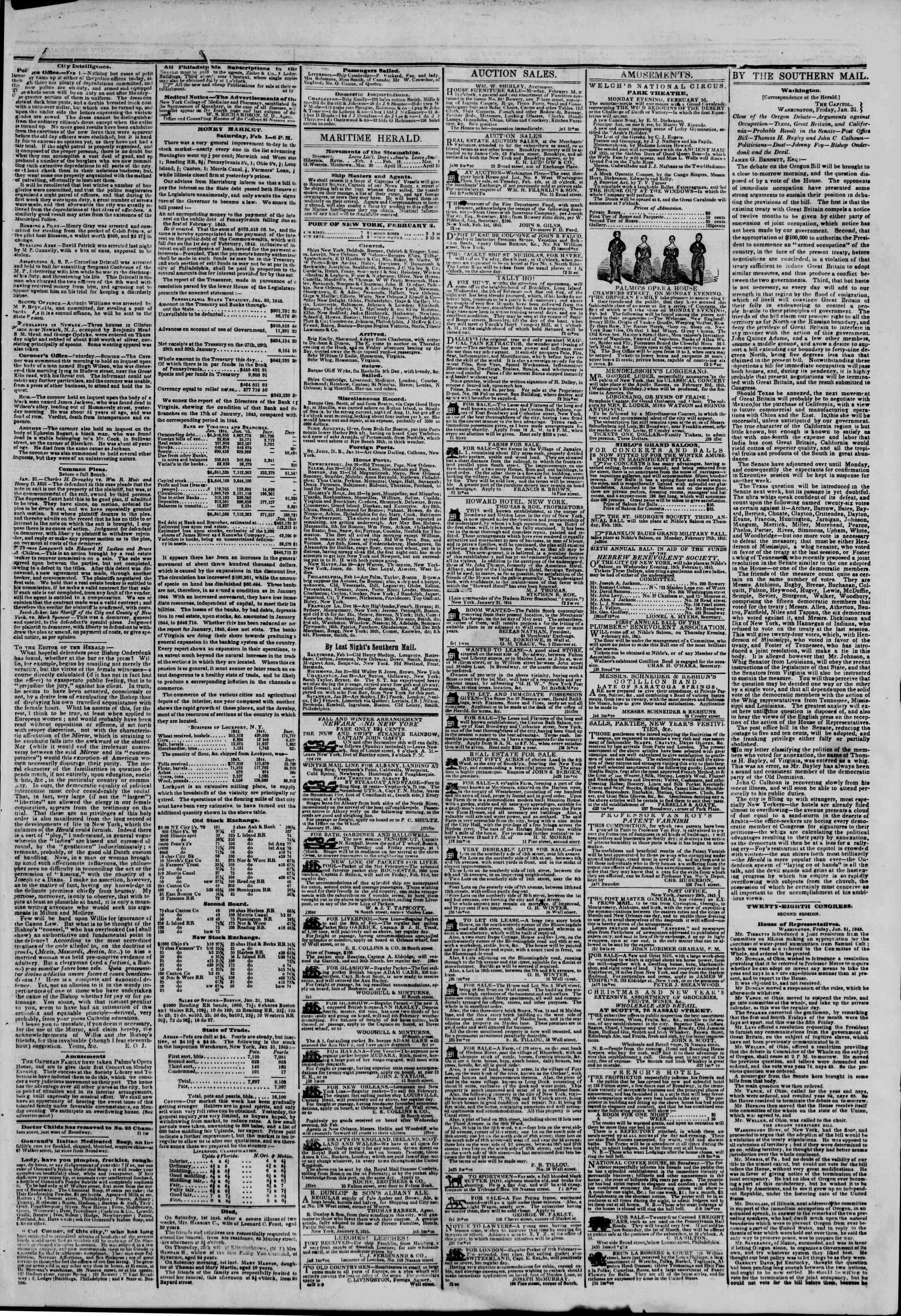 February 2, 1845 Tarihli The New York Herald Gazetesi Sayfa 3