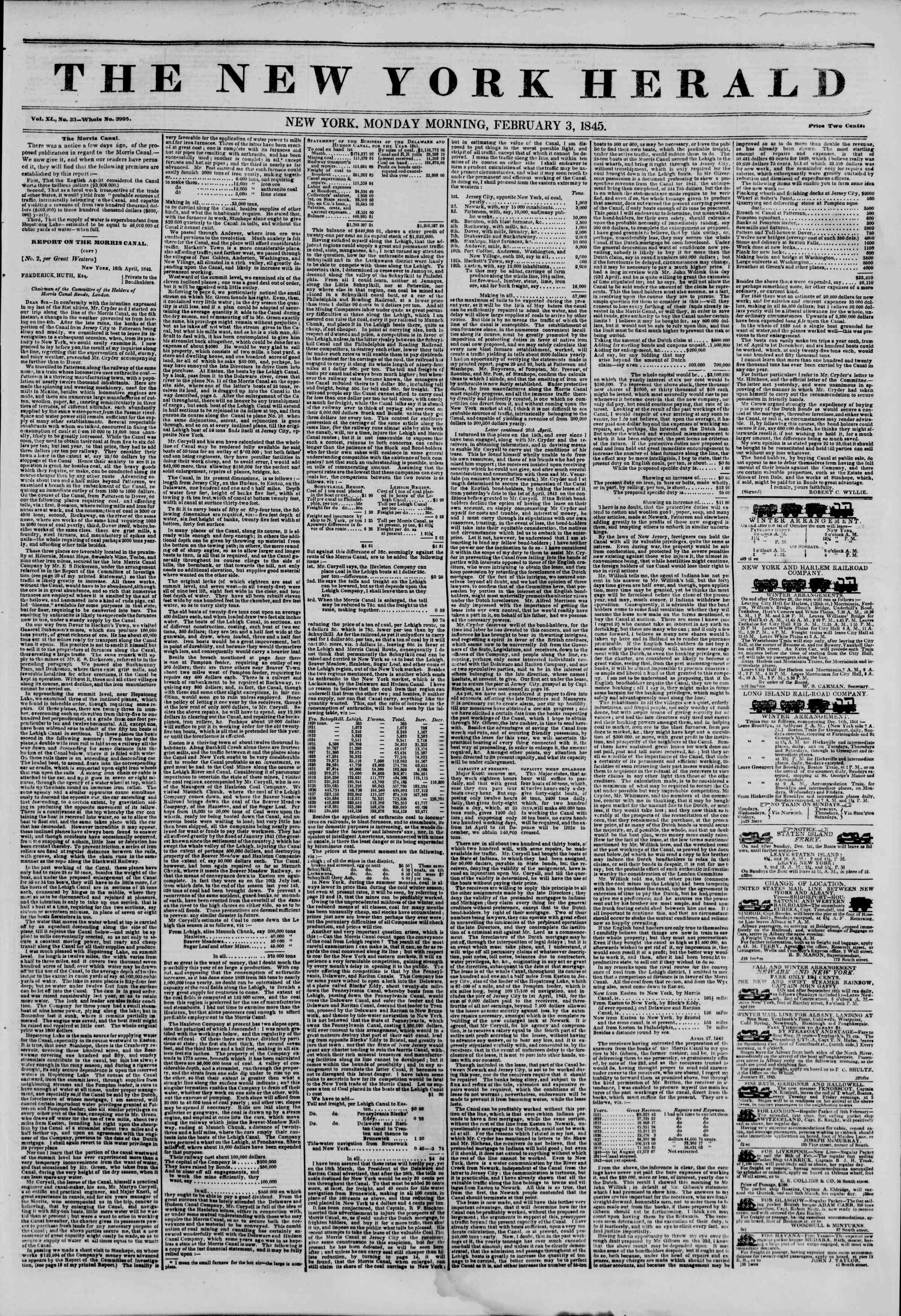 February 3, 1845 Tarihli The New York Herald Gazetesi Sayfa 1