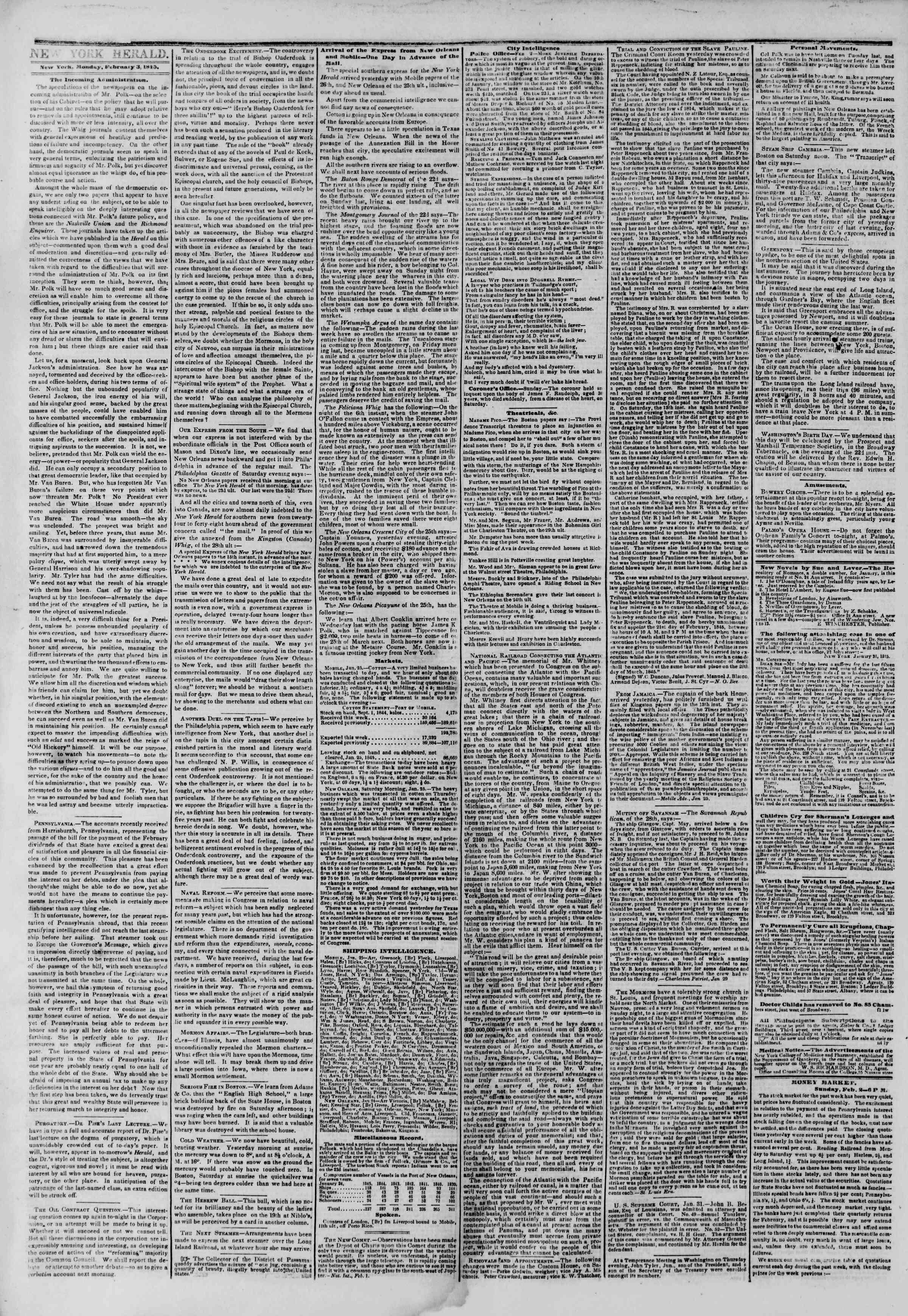 February 3, 1845 Tarihli The New York Herald Gazetesi Sayfa 2