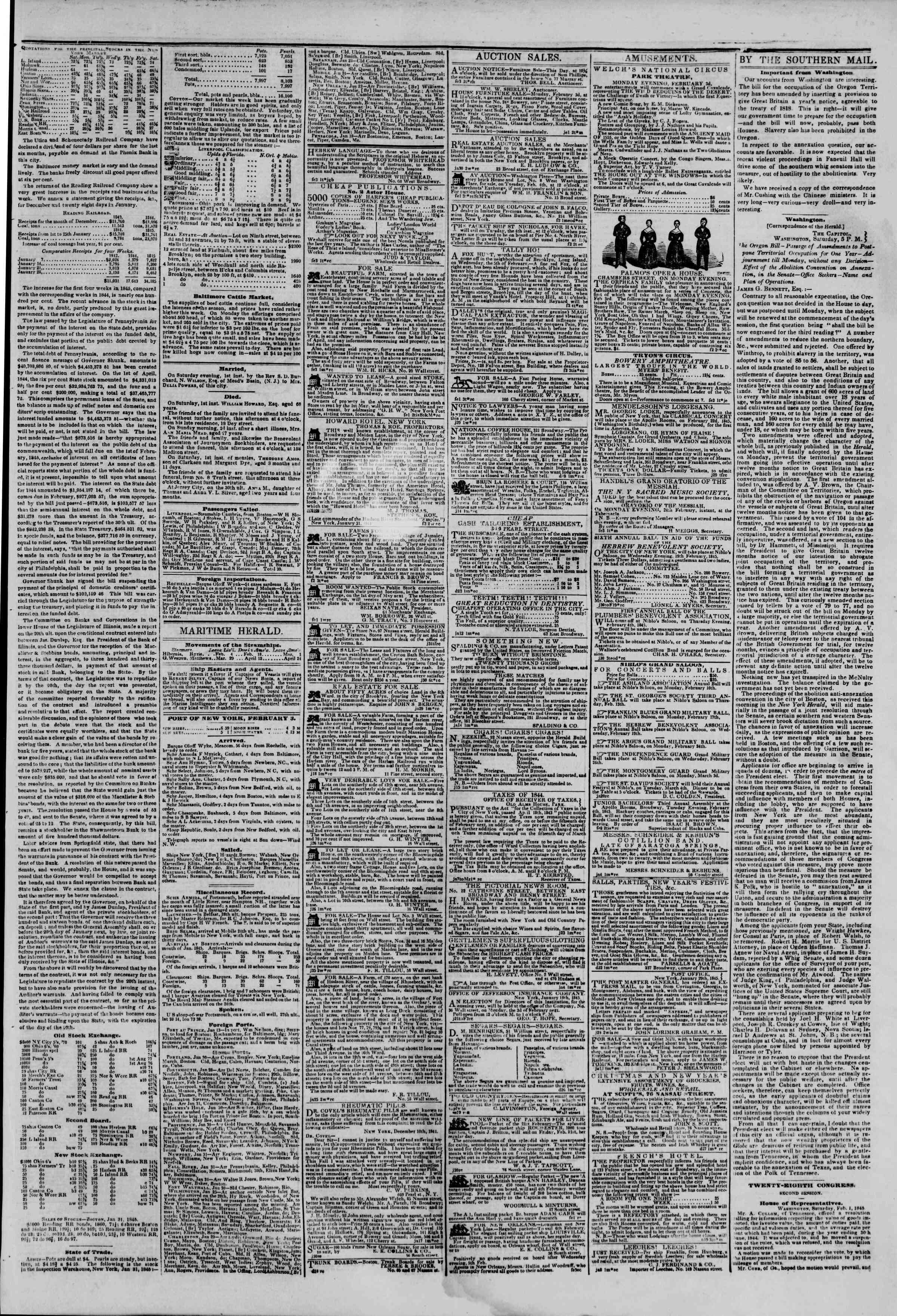 February 3, 1845 Tarihli The New York Herald Gazetesi Sayfa 3