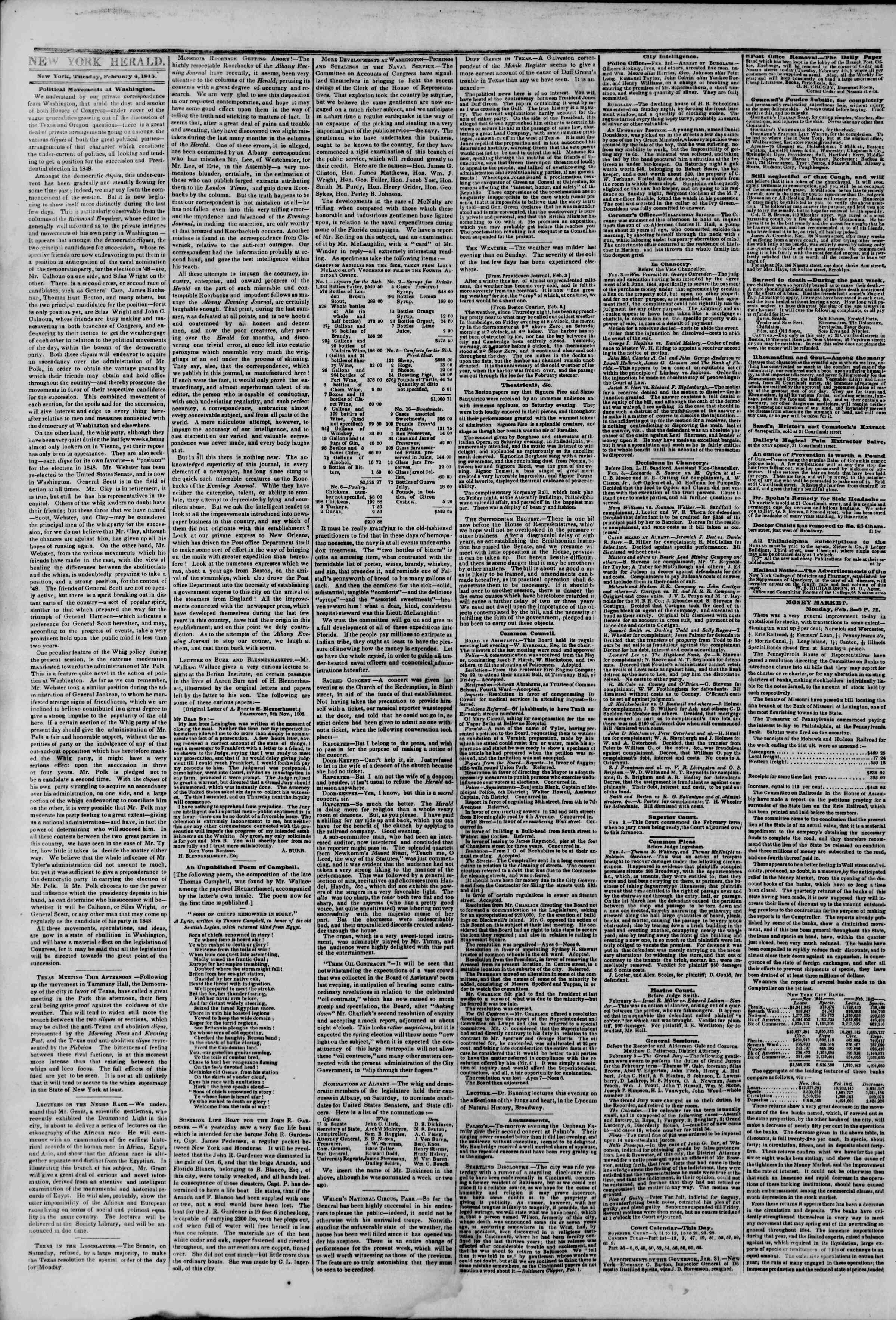 Newspaper of The New York Herald dated February 4, 1845 Page 2