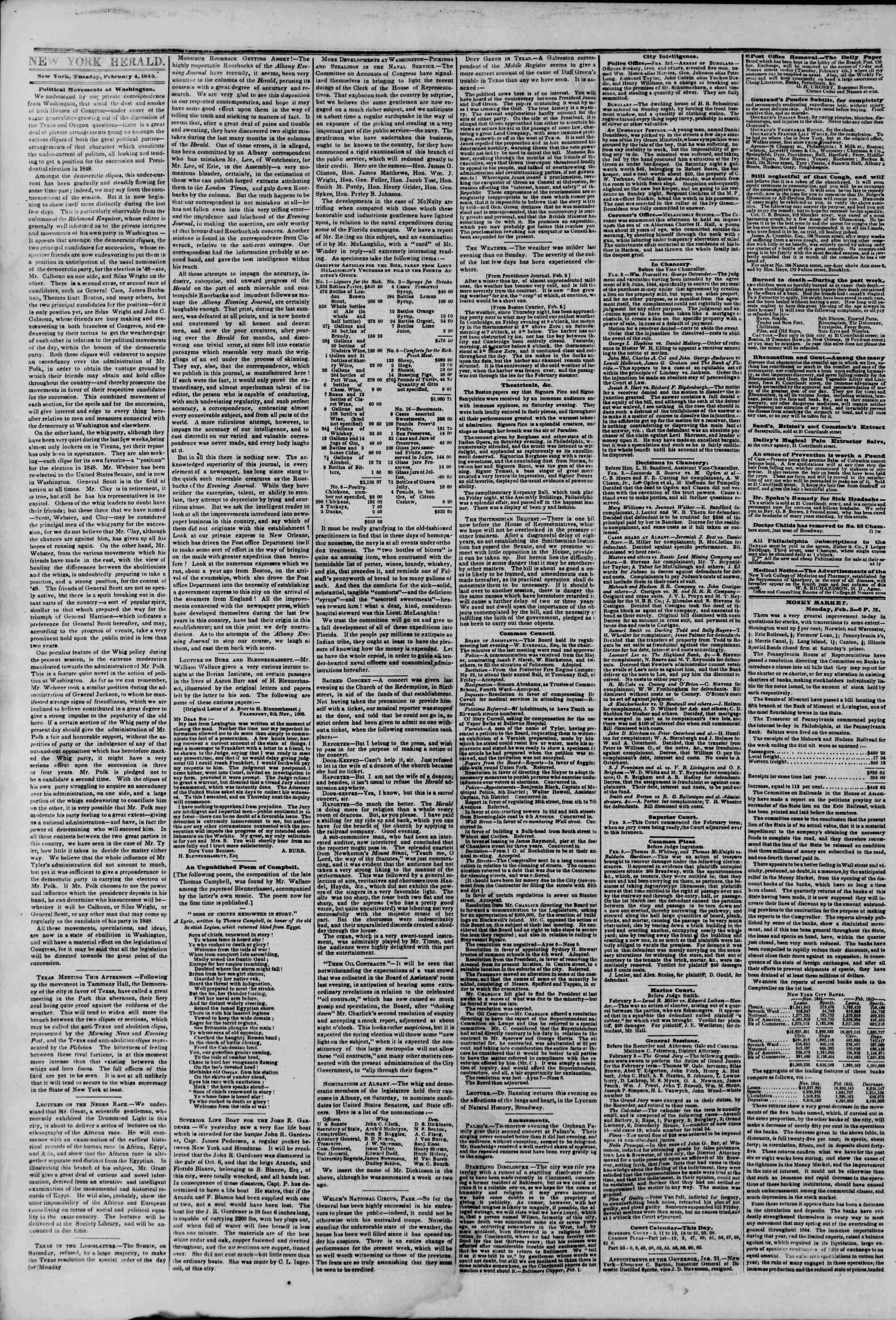 February 4, 1845 Tarihli The New York Herald Gazetesi Sayfa 2