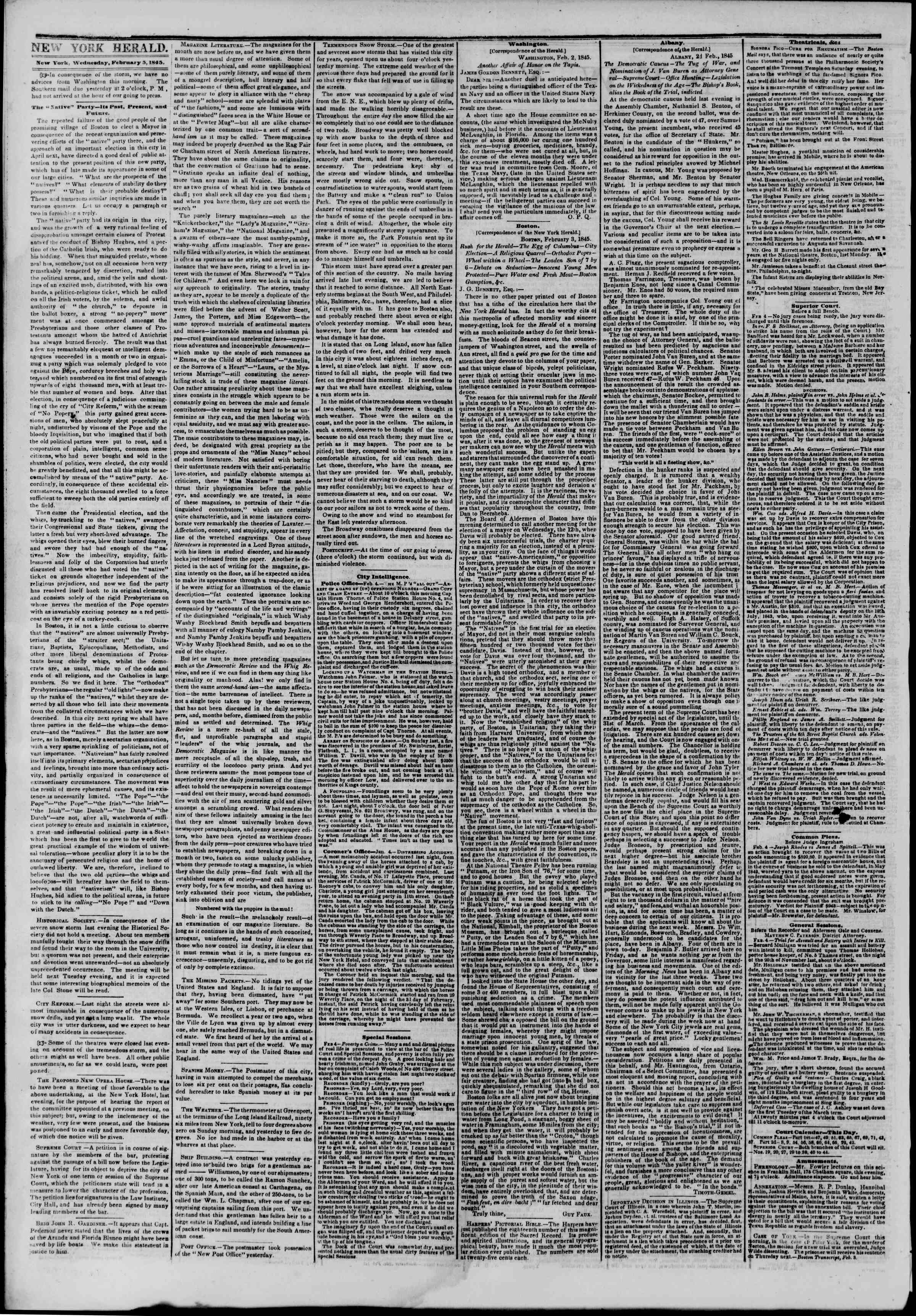 February 5, 1845 Tarihli The New York Herald Gazetesi Sayfa 2