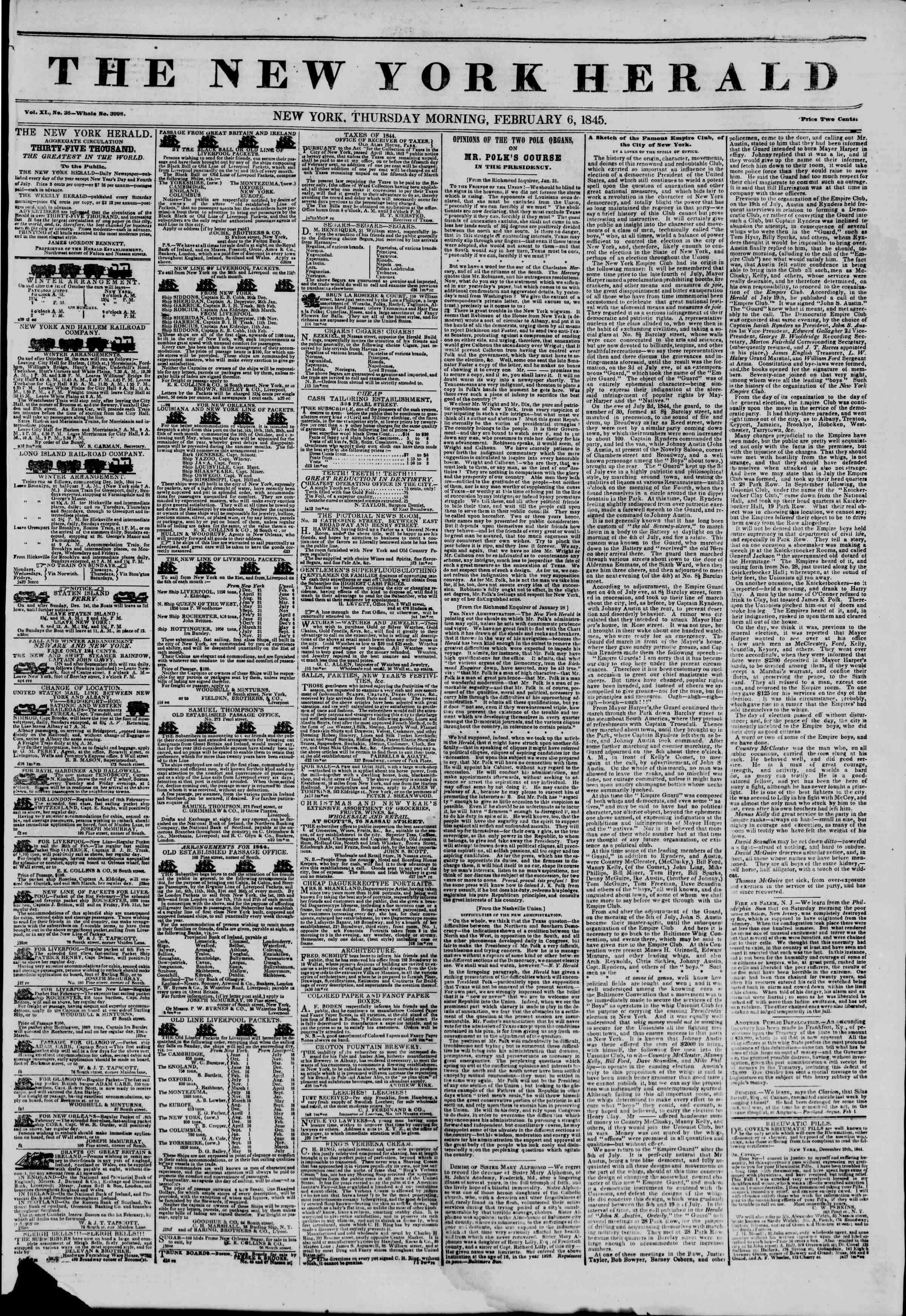 February 6, 1845 Tarihli The New York Herald Gazetesi Sayfa 1