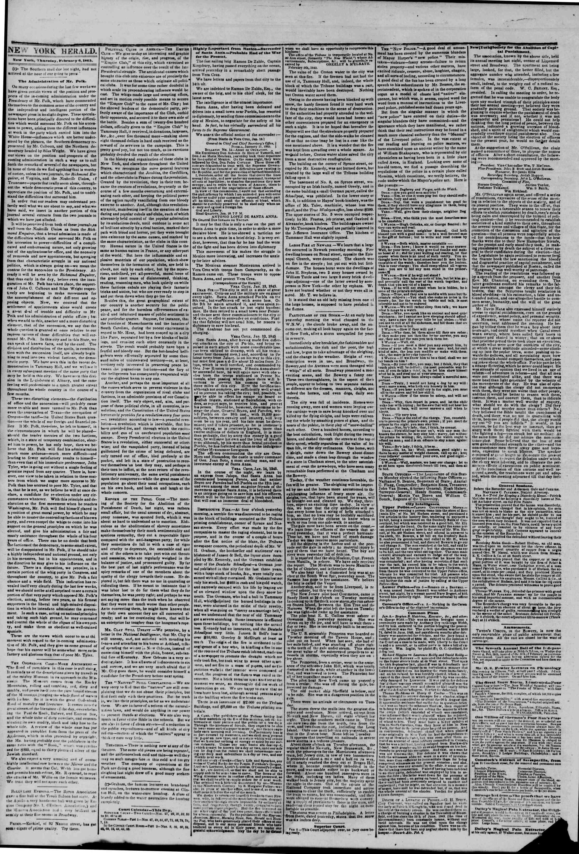 February 6, 1845 Tarihli The New York Herald Gazetesi Sayfa 2