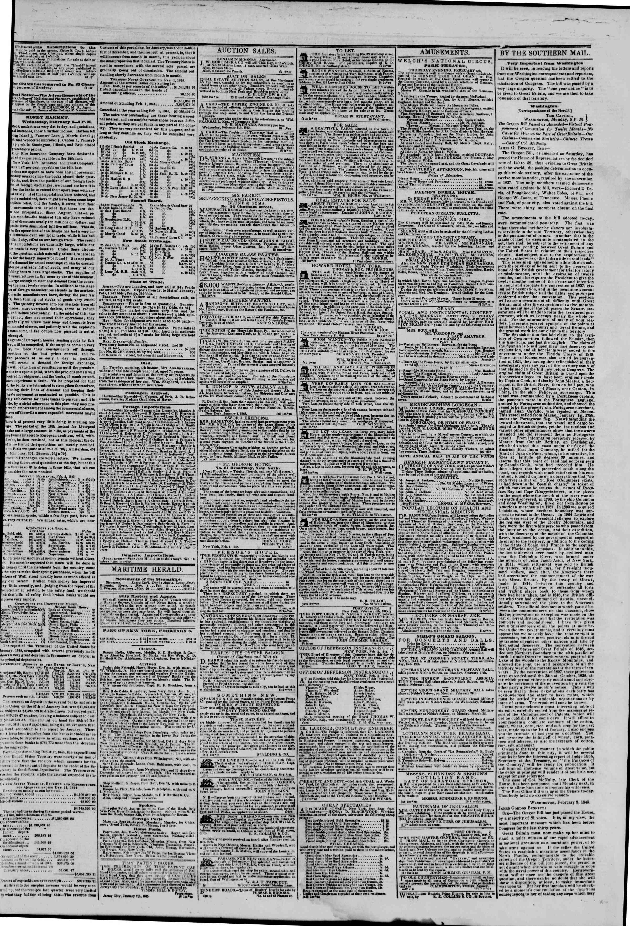 Newspaper of The New York Herald dated February 6, 1845 Page 3