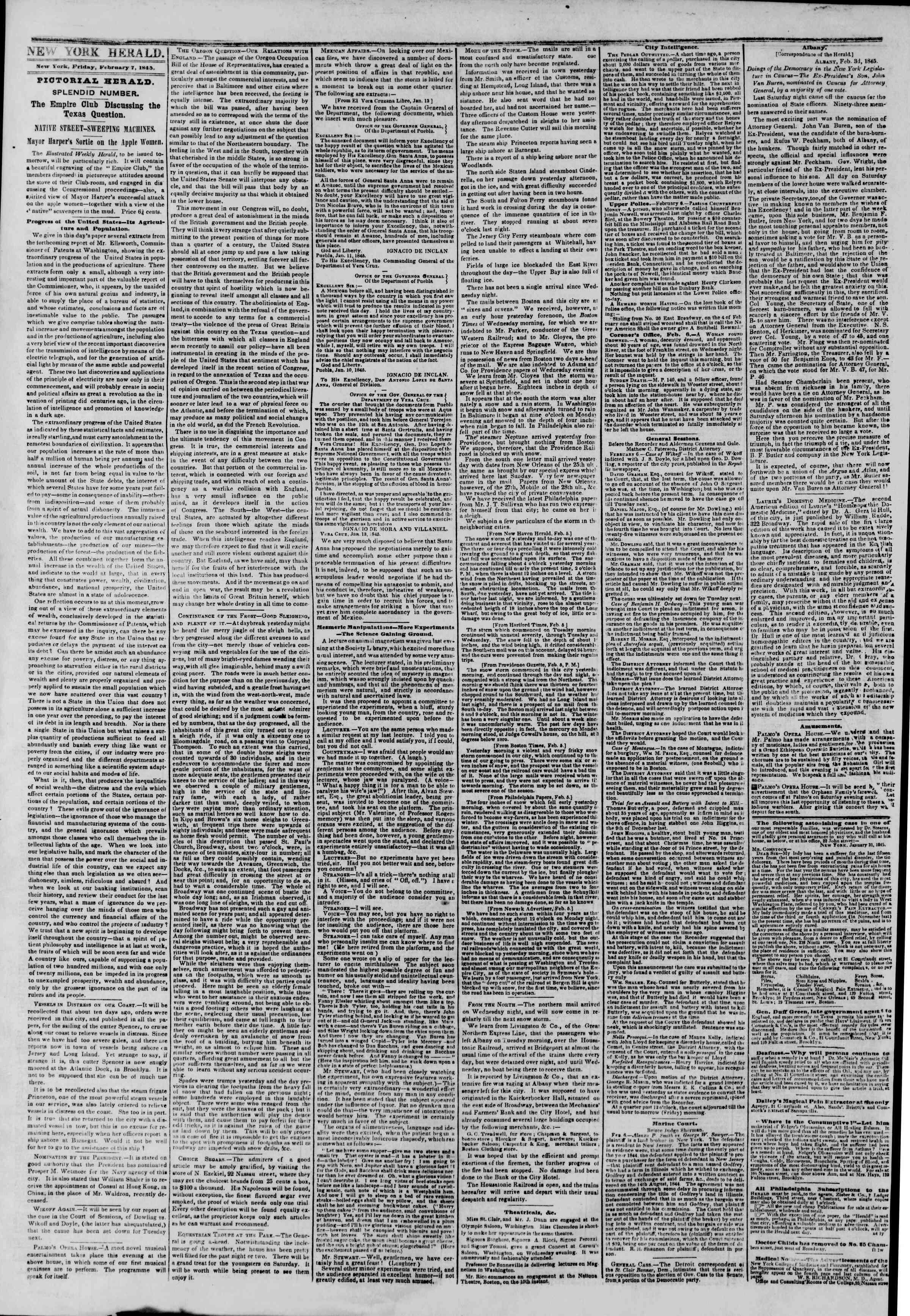 February 7, 1845 Tarihli The New York Herald Gazetesi Sayfa 2