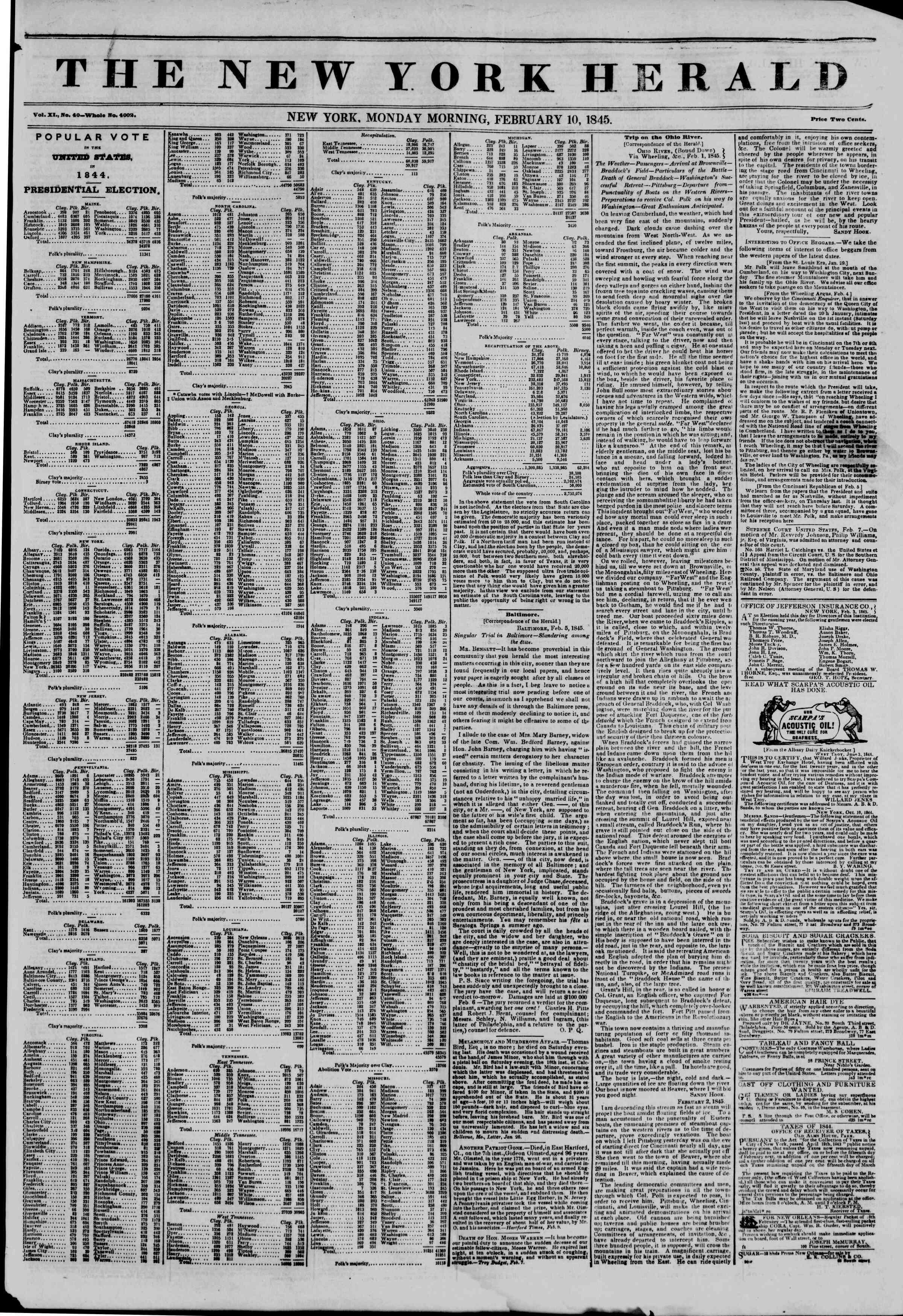 February 10, 1845 Tarihli The New York Herald Gazetesi Sayfa 1