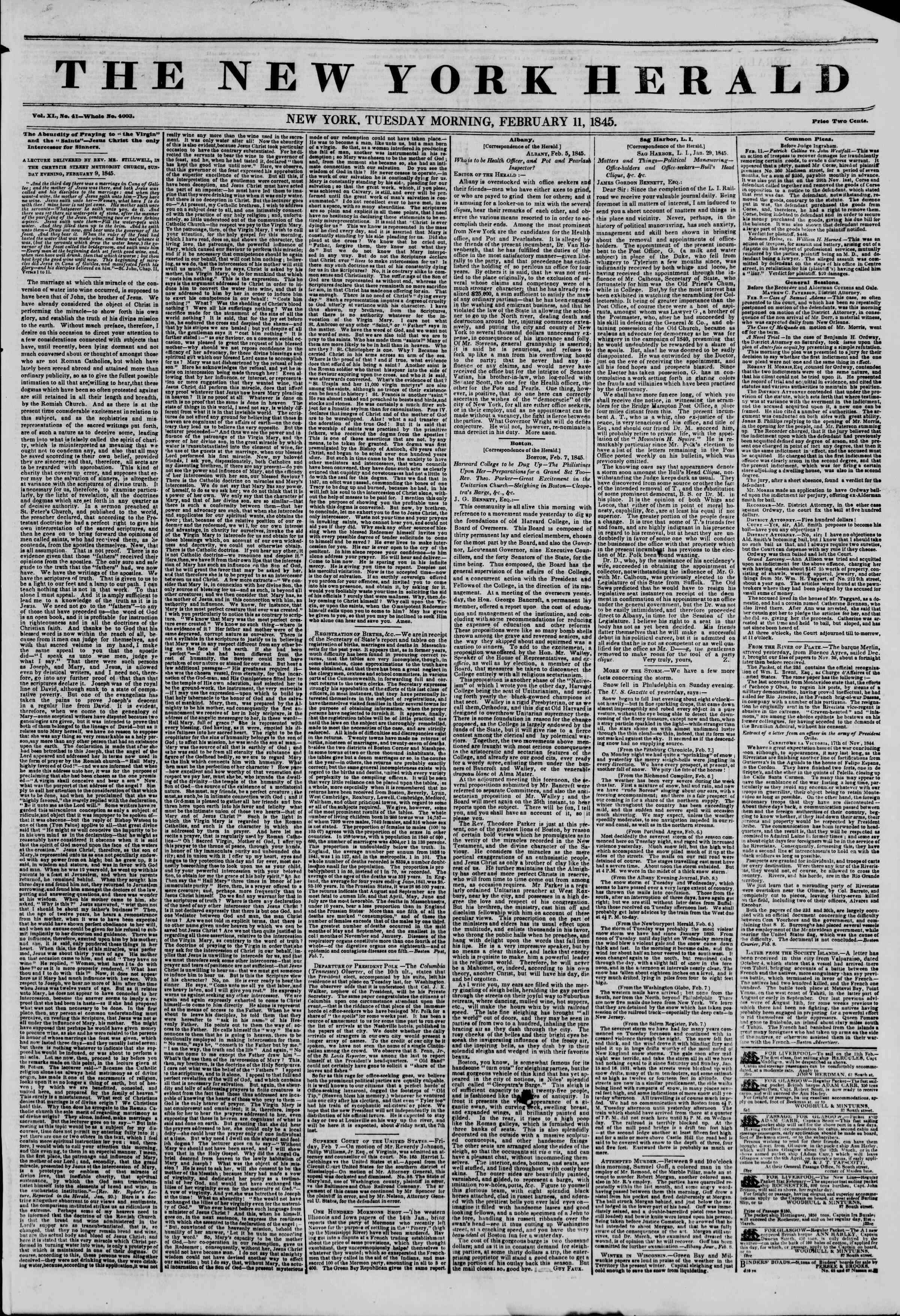 Newspaper of The New York Herald dated February 11, 1845 Page 1