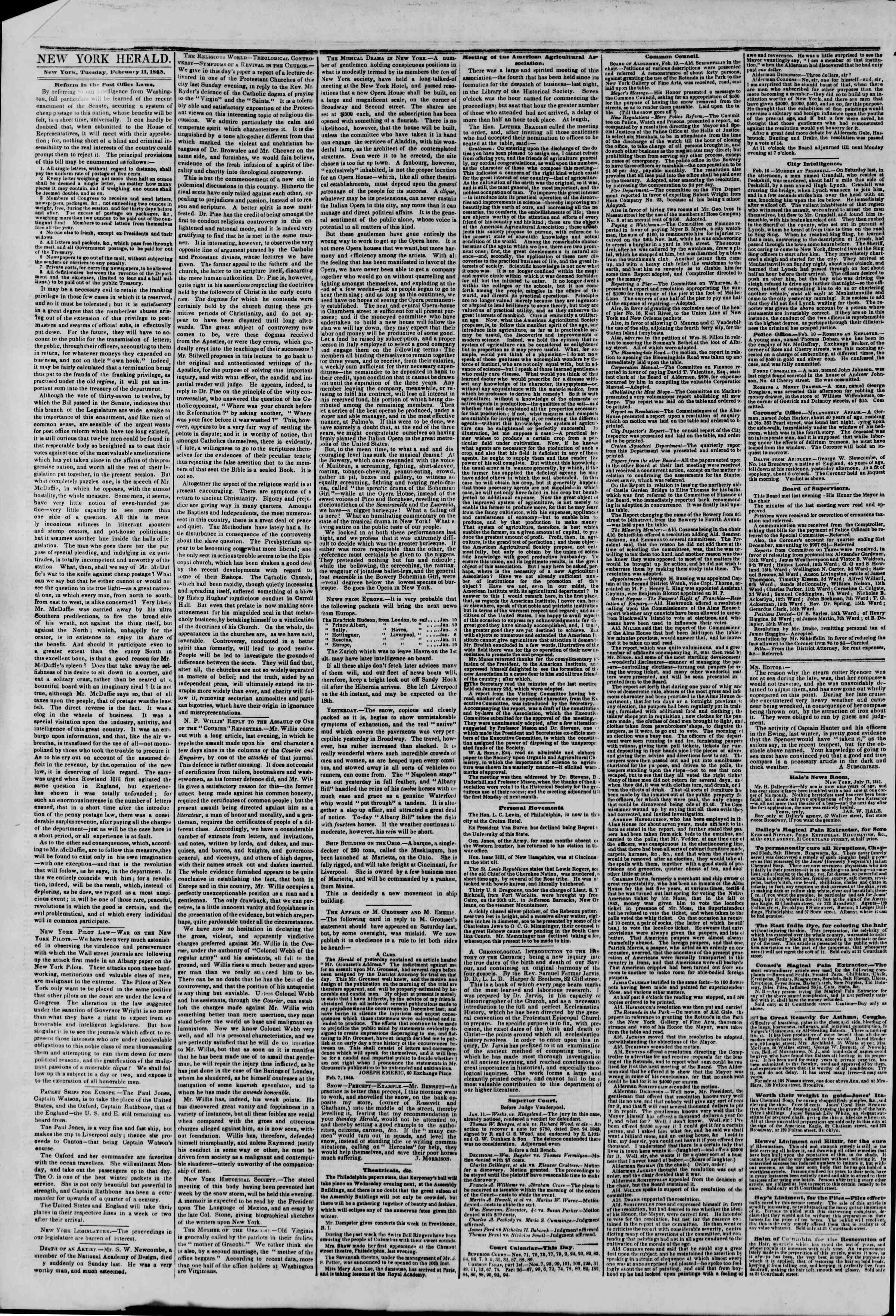 Newspaper of The New York Herald dated February 11, 1845 Page 2