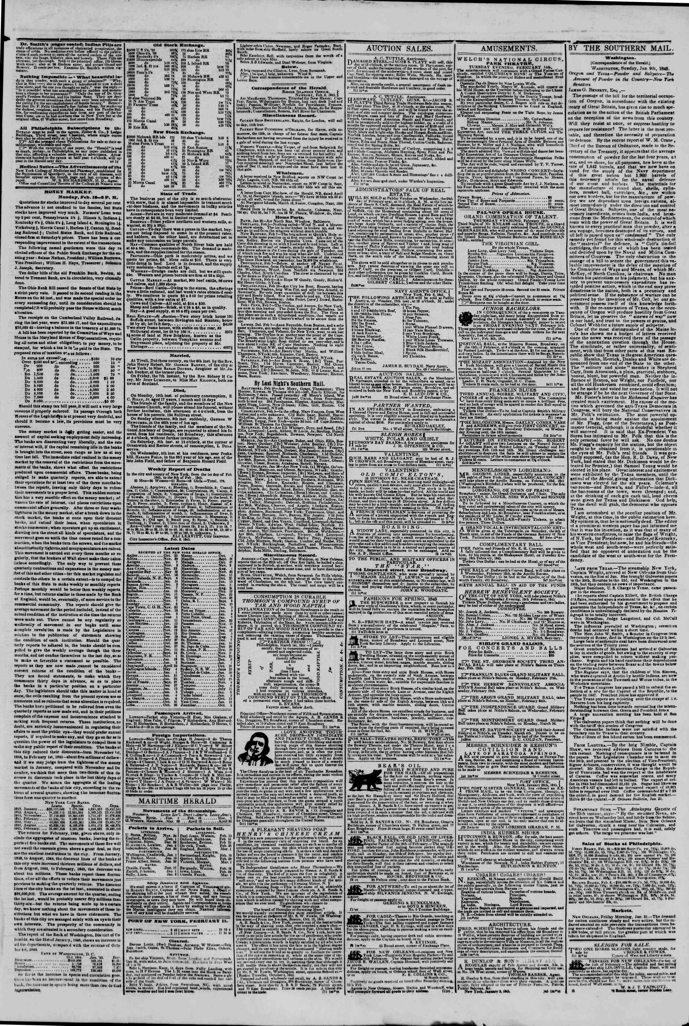 February 11, 1845 Tarihli The New York Herald Gazetesi Sayfa 3