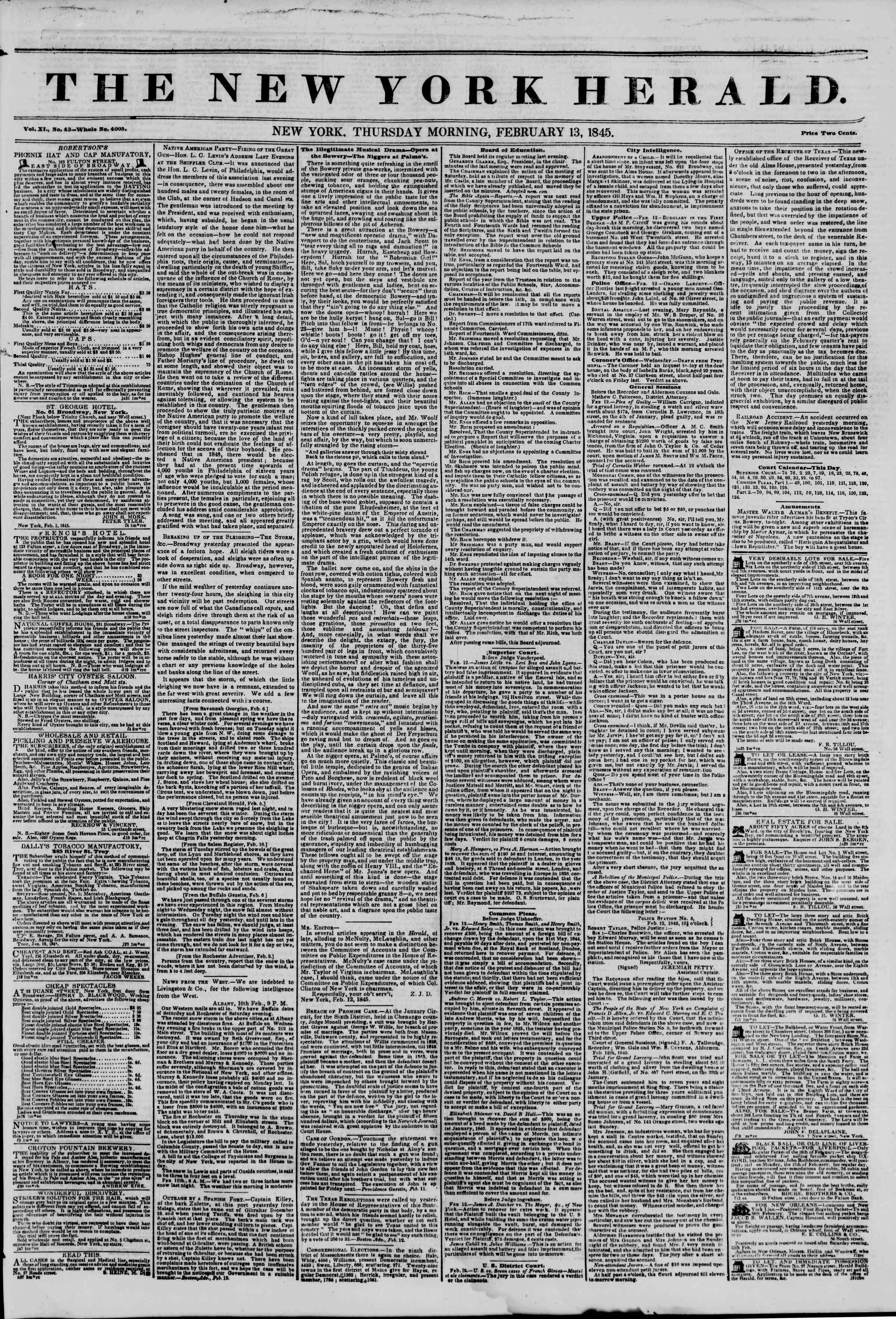 February 13, 1845 Tarihli The New York Herald Gazetesi Sayfa 1