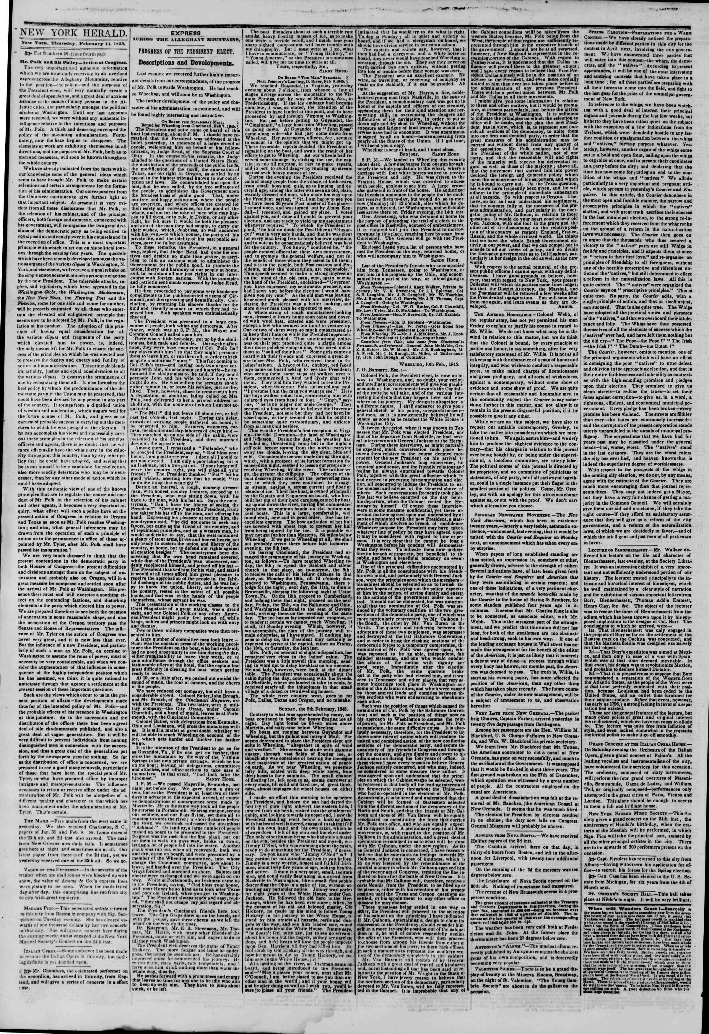 Newspaper of The New York Herald dated February 13, 1845 Page 2