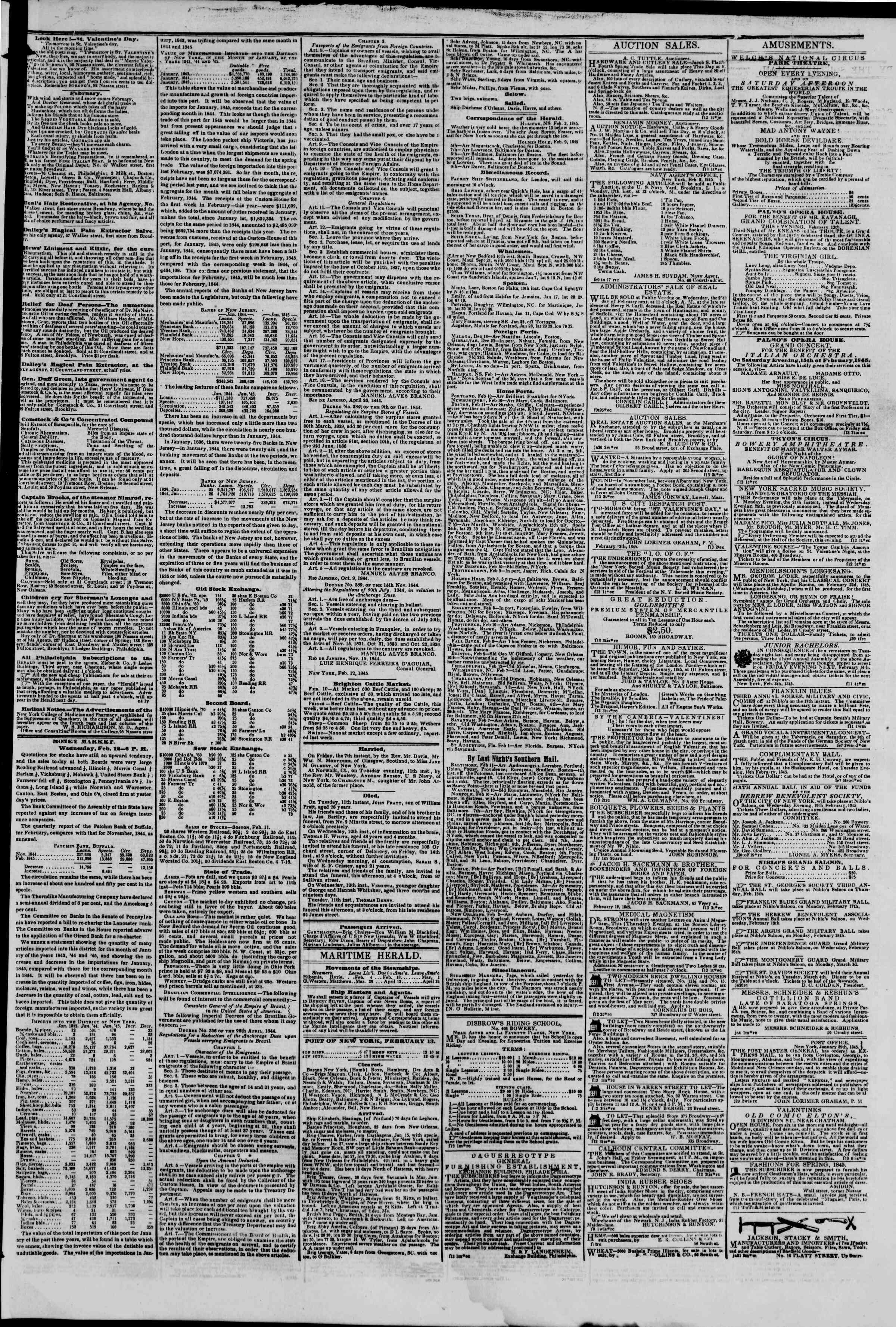 February 13, 1845 Tarihli The New York Herald Gazetesi Sayfa 3
