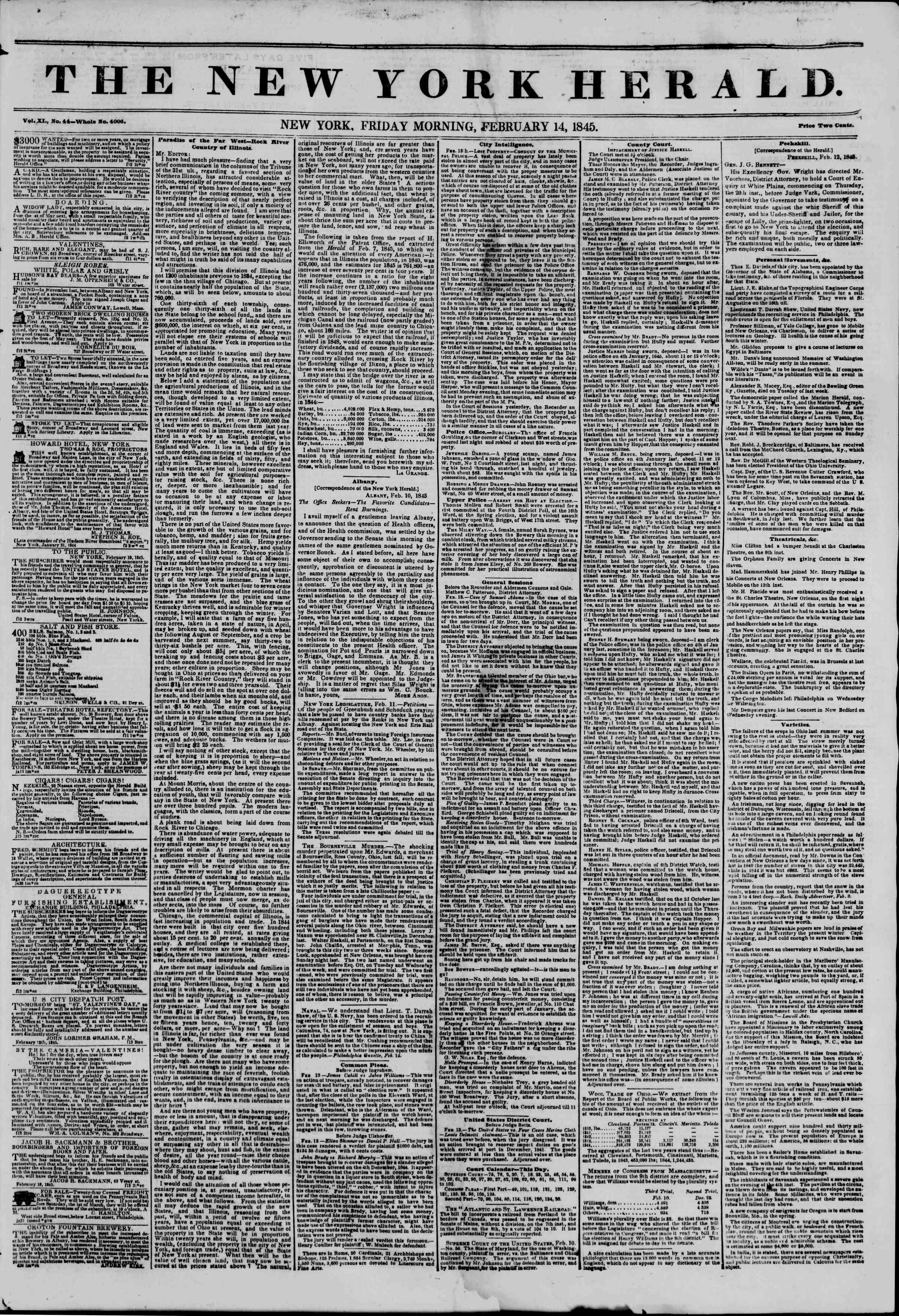 February 14, 1845 Tarihli The New York Herald Gazetesi Sayfa 1