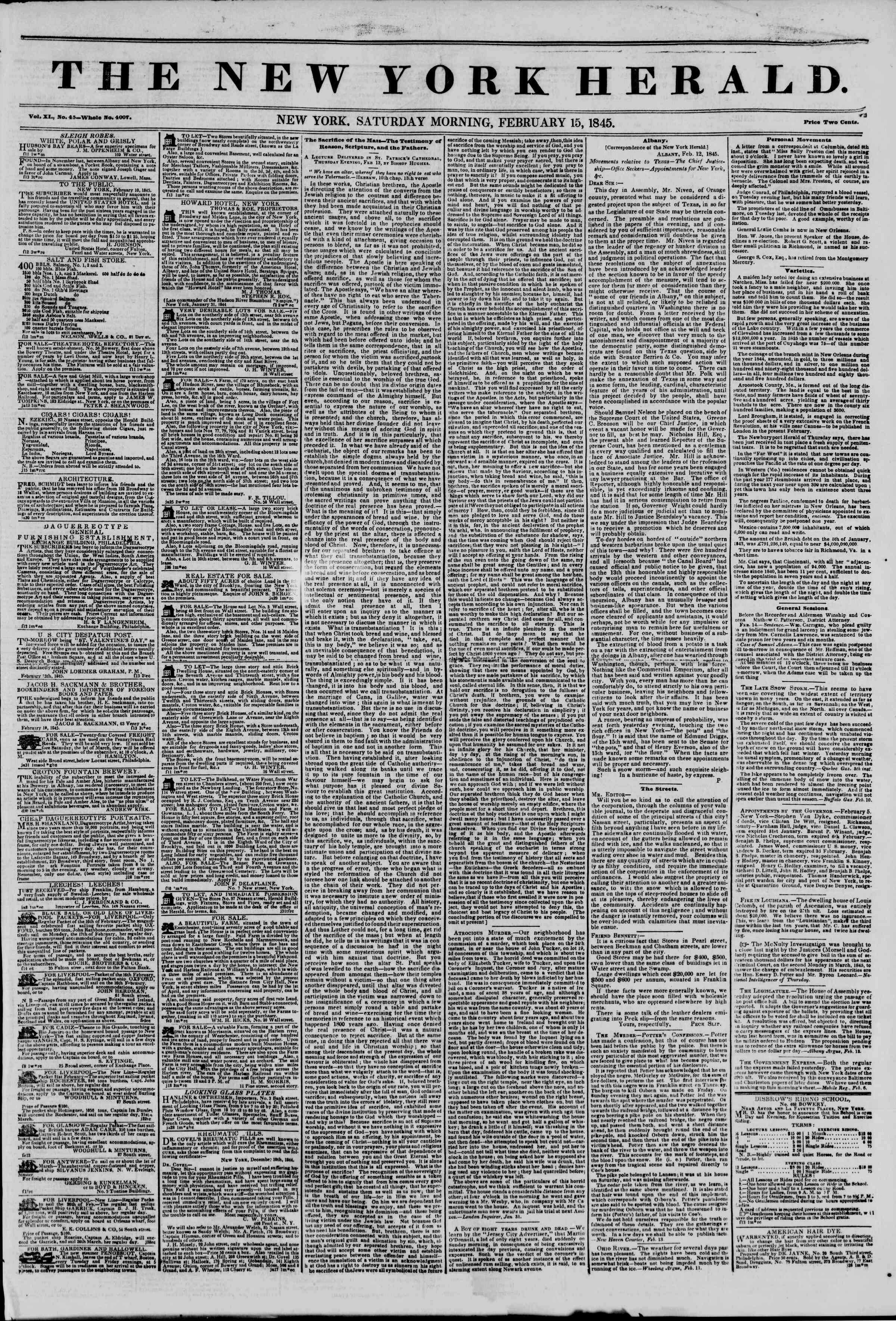 Newspaper of The New York Herald dated February 15, 1845 Page 1