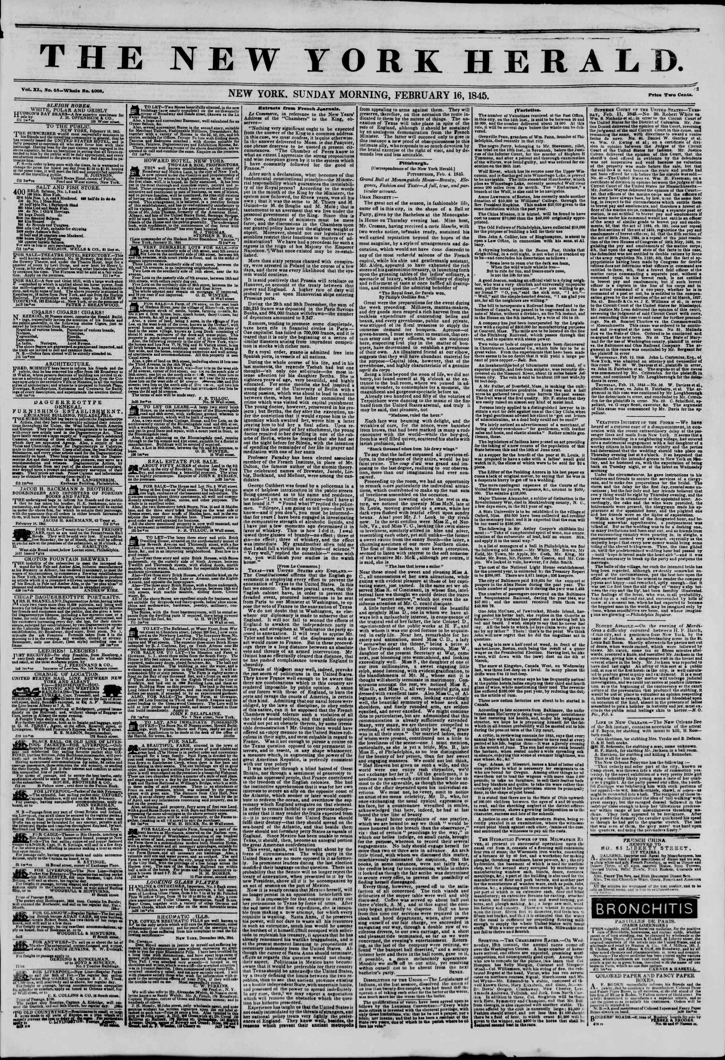 Newspaper of The New York Herald dated February 16, 1845 Page 1