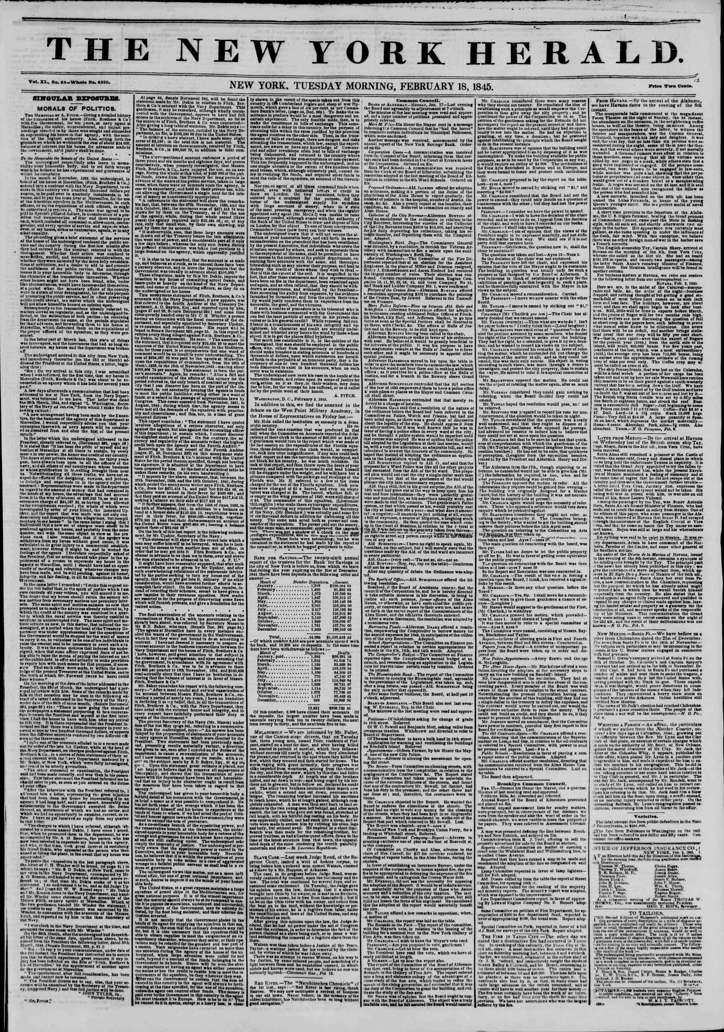 February 18, 1845 Tarihli The New York Herald Gazetesi Sayfa 1