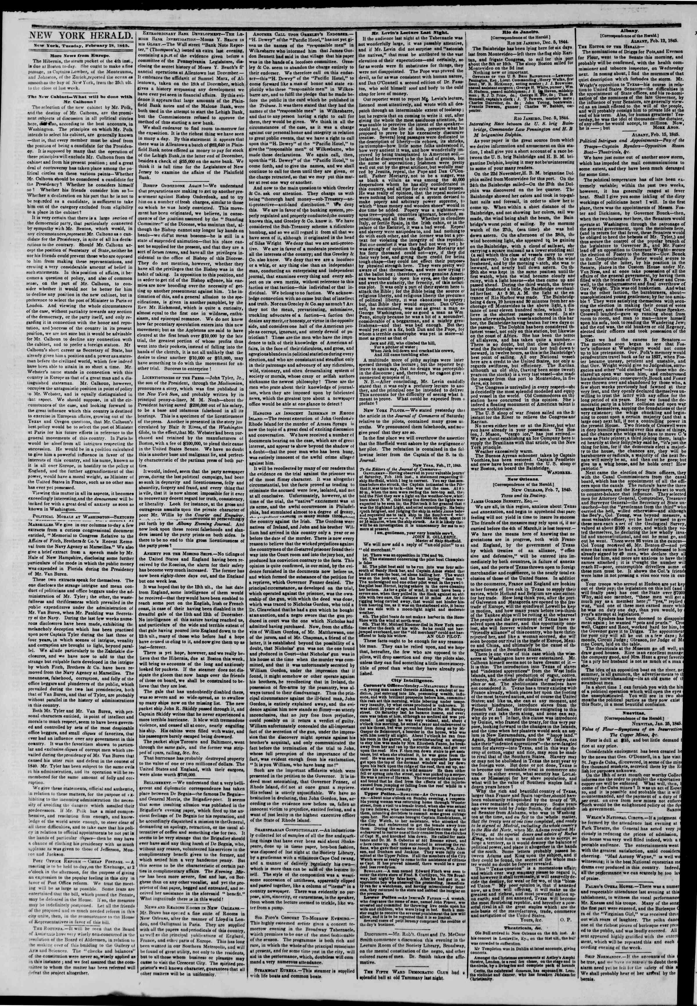 February 18, 1845 Tarihli The New York Herald Gazetesi Sayfa 2