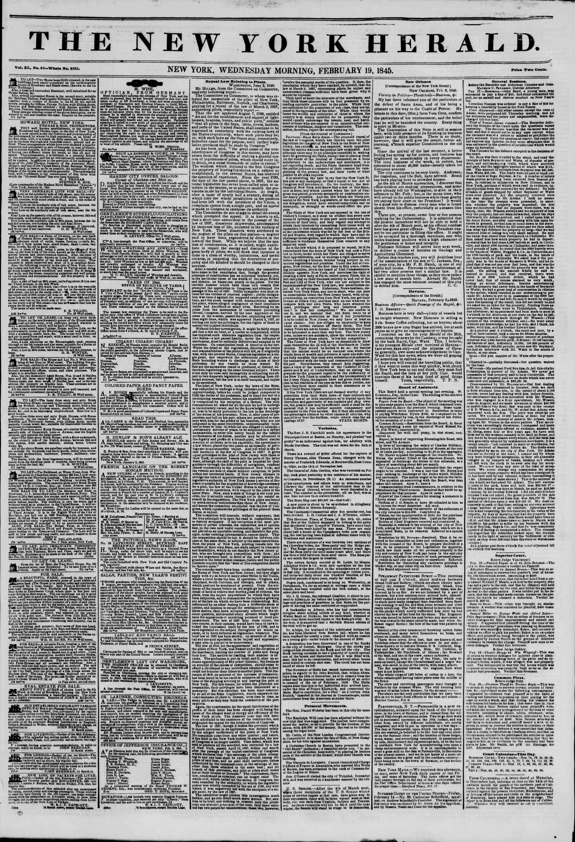 February 19, 1845 Tarihli The New York Herald Gazetesi Sayfa 1