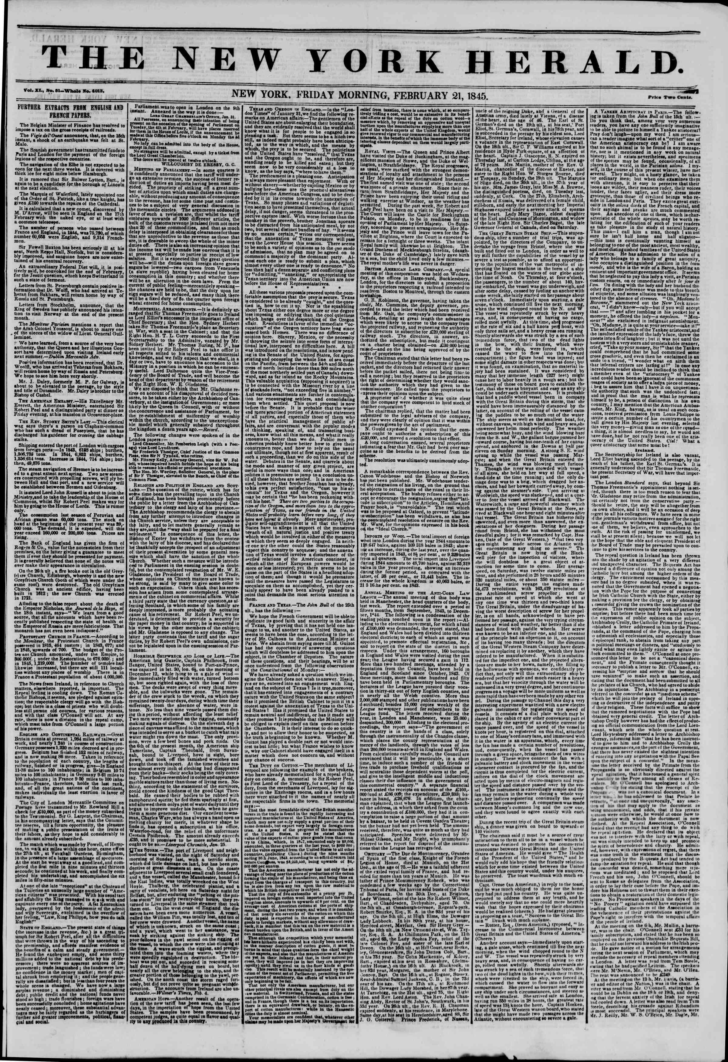 Newspaper of The New York Herald dated February 21, 1845 Page 1