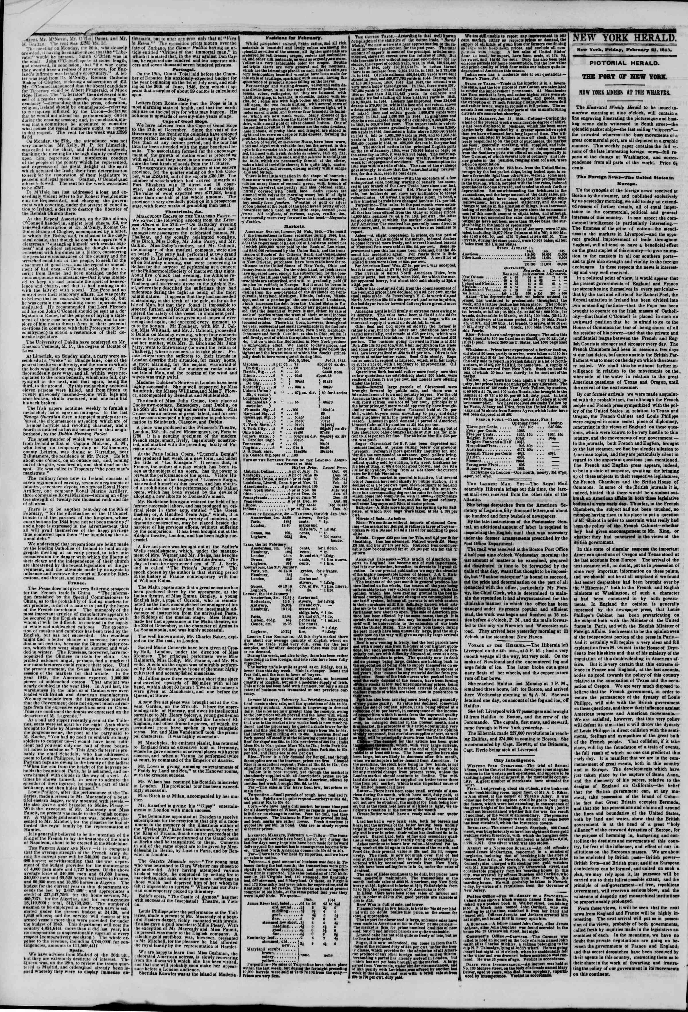 Newspaper of The New York Herald dated February 21, 1845 Page 2