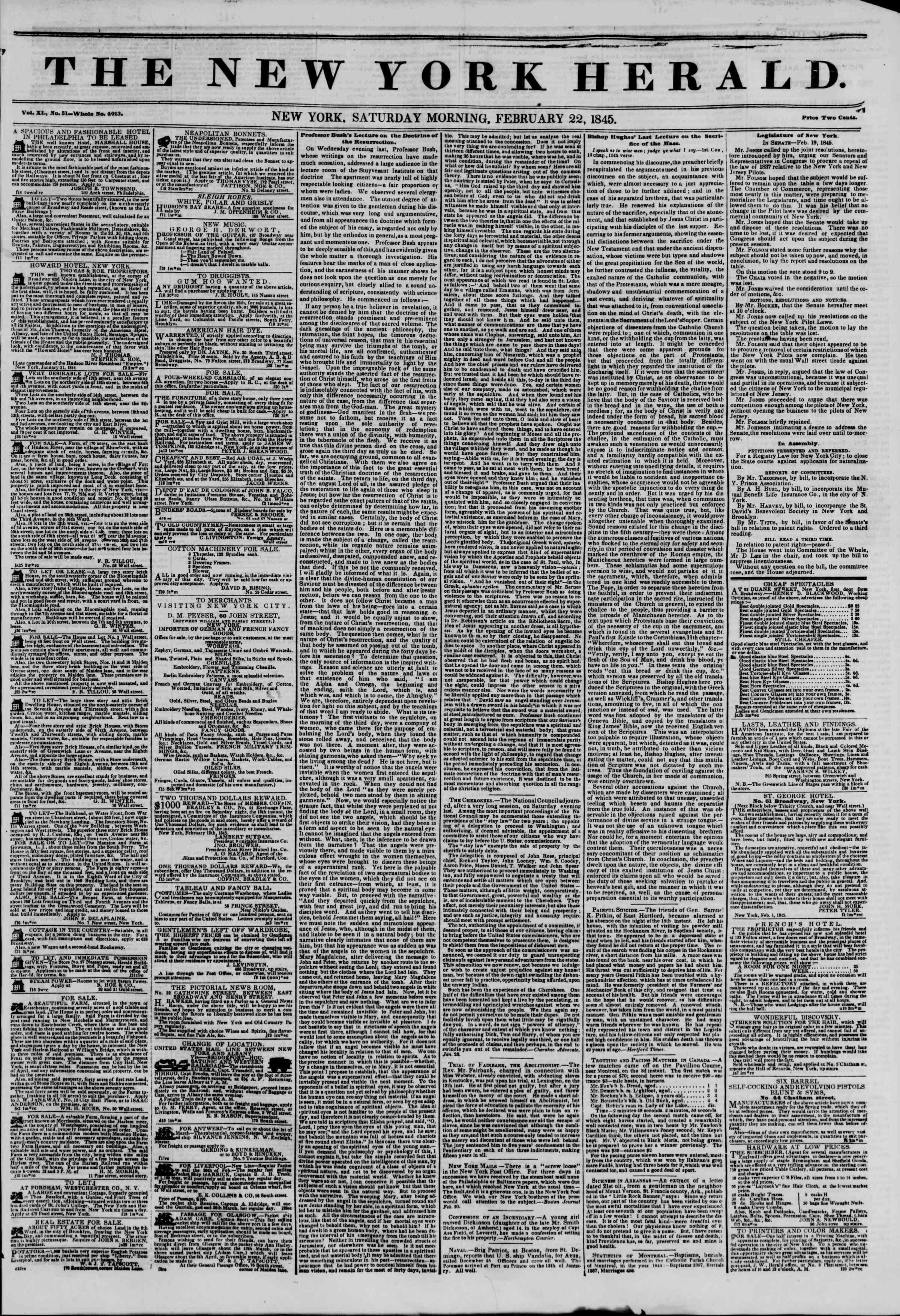 22 Şubat 1845 tarihli The New York Herald Gazetesi Sayfa 1
