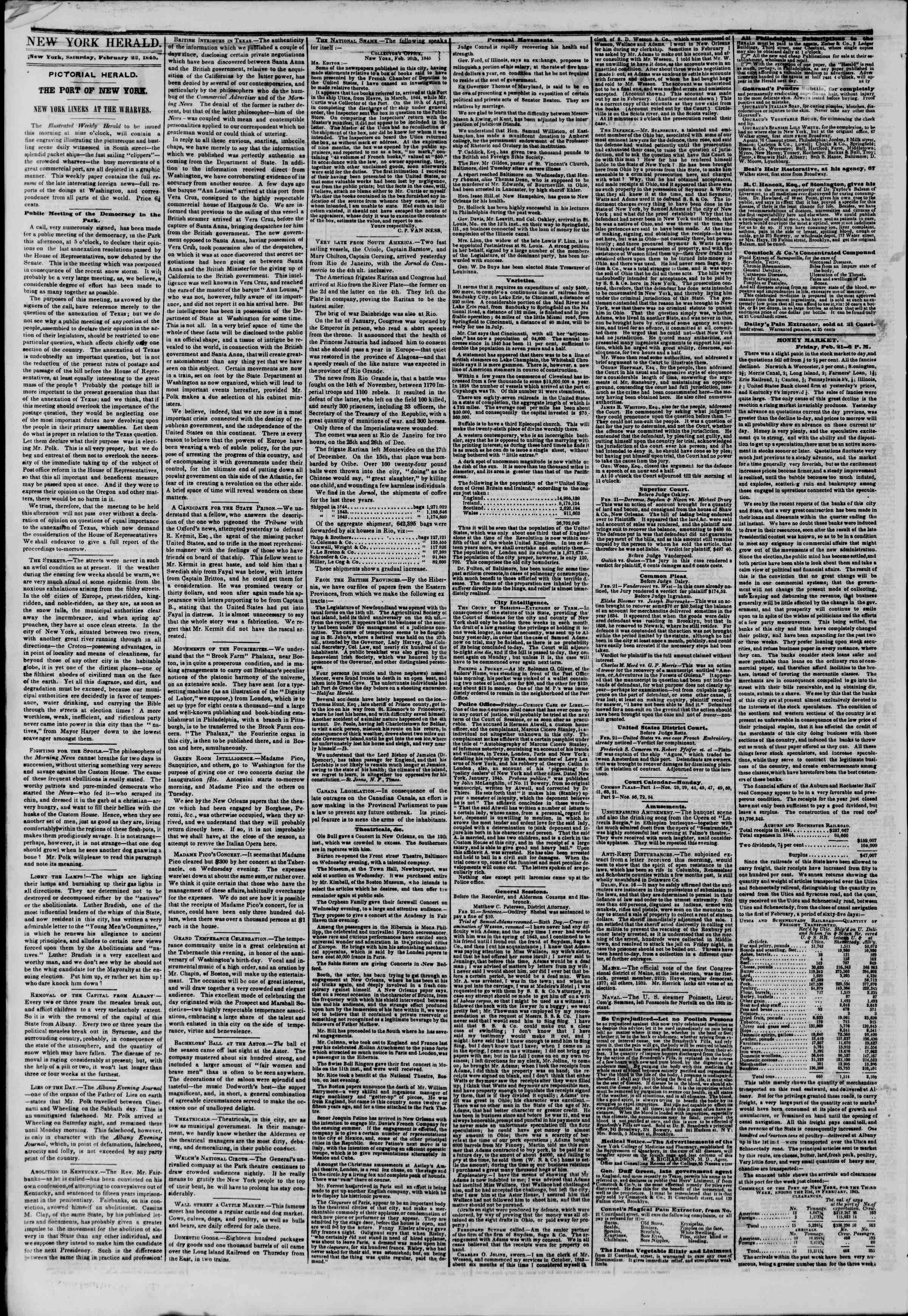 Newspaper of The New York Herald dated February 22, 1845 Page 2