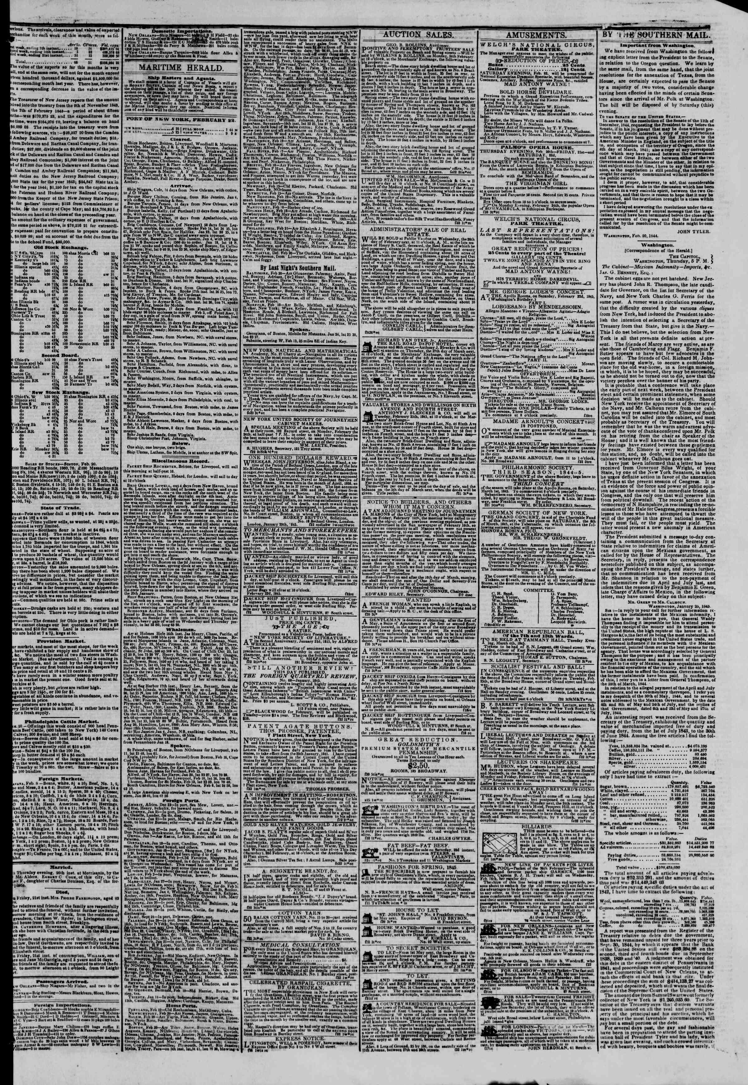 February 22, 1845 Tarihli The New York Herald Gazetesi Sayfa 3
