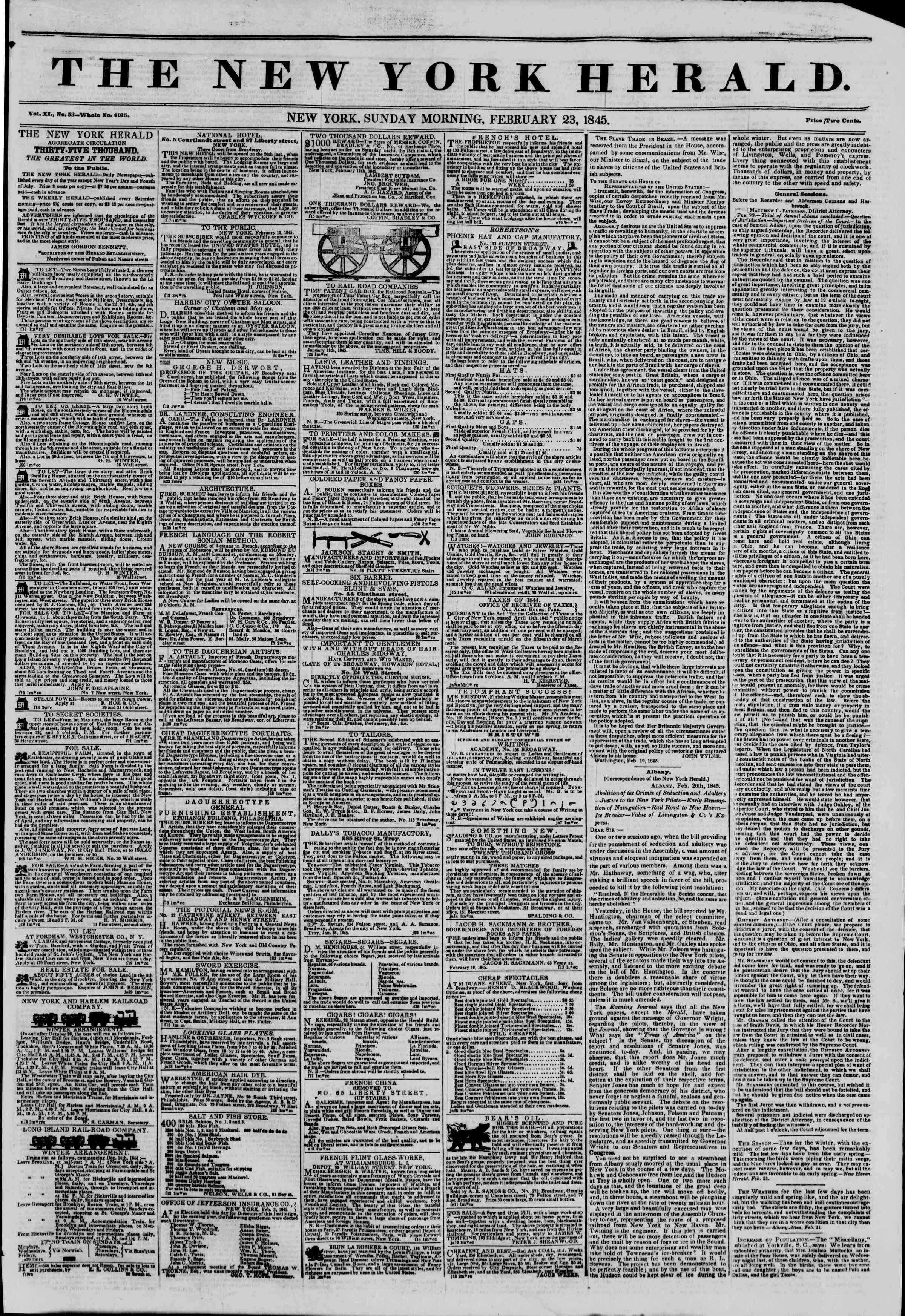 February 23, 1845 Tarihli The New York Herald Gazetesi Sayfa 1