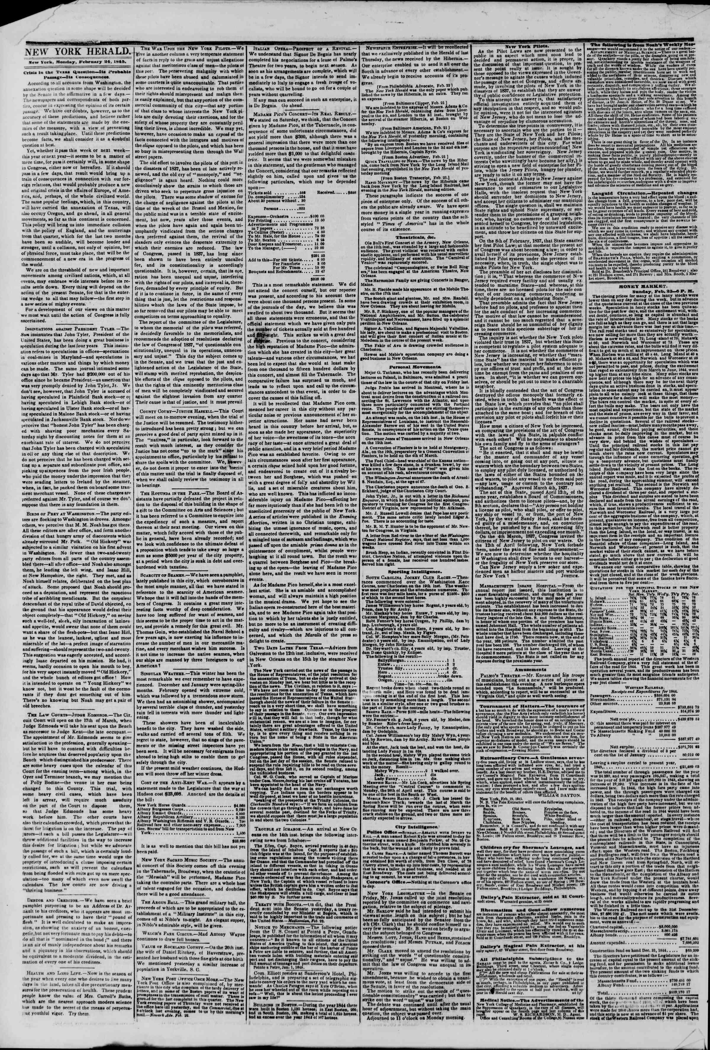 February 24, 1845 Tarihli The New York Herald Gazetesi Sayfa 2