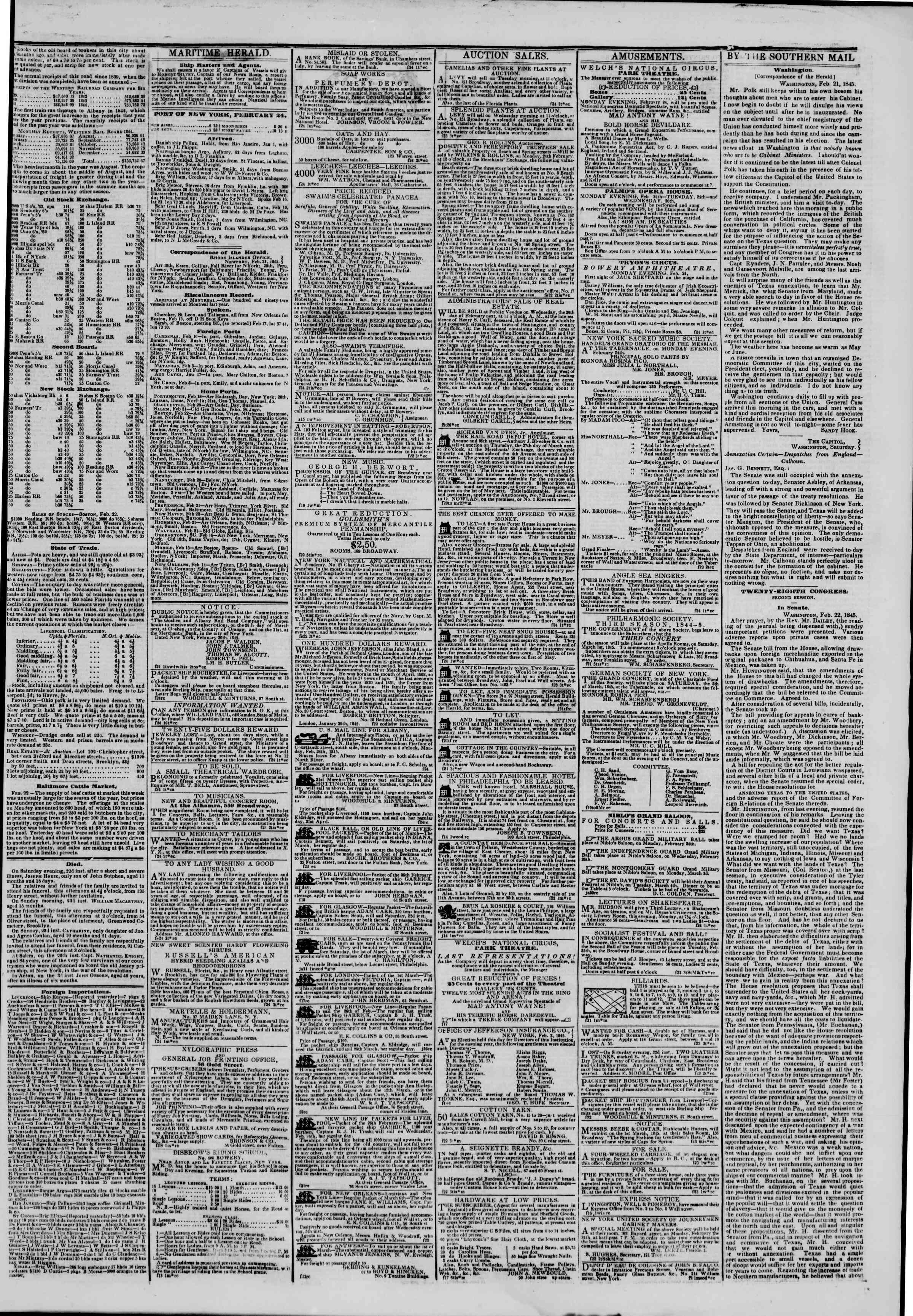 Newspaper of The New York Herald dated February 24, 1845 Page 3