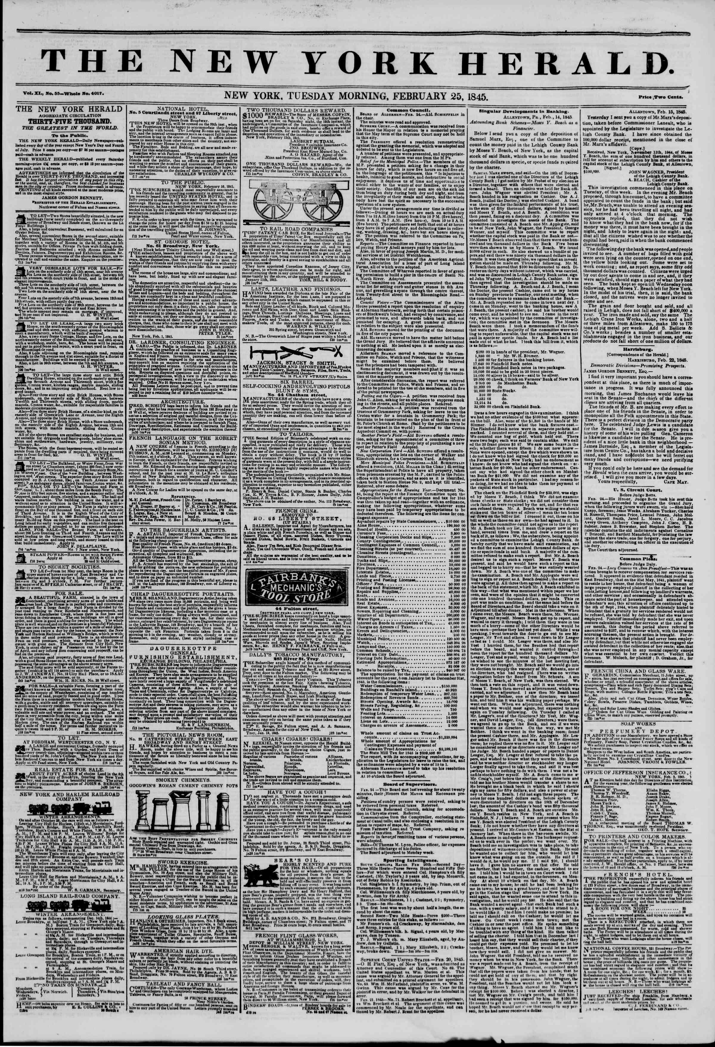 February 25, 1845 Tarihli The New York Herald Gazetesi Sayfa 1