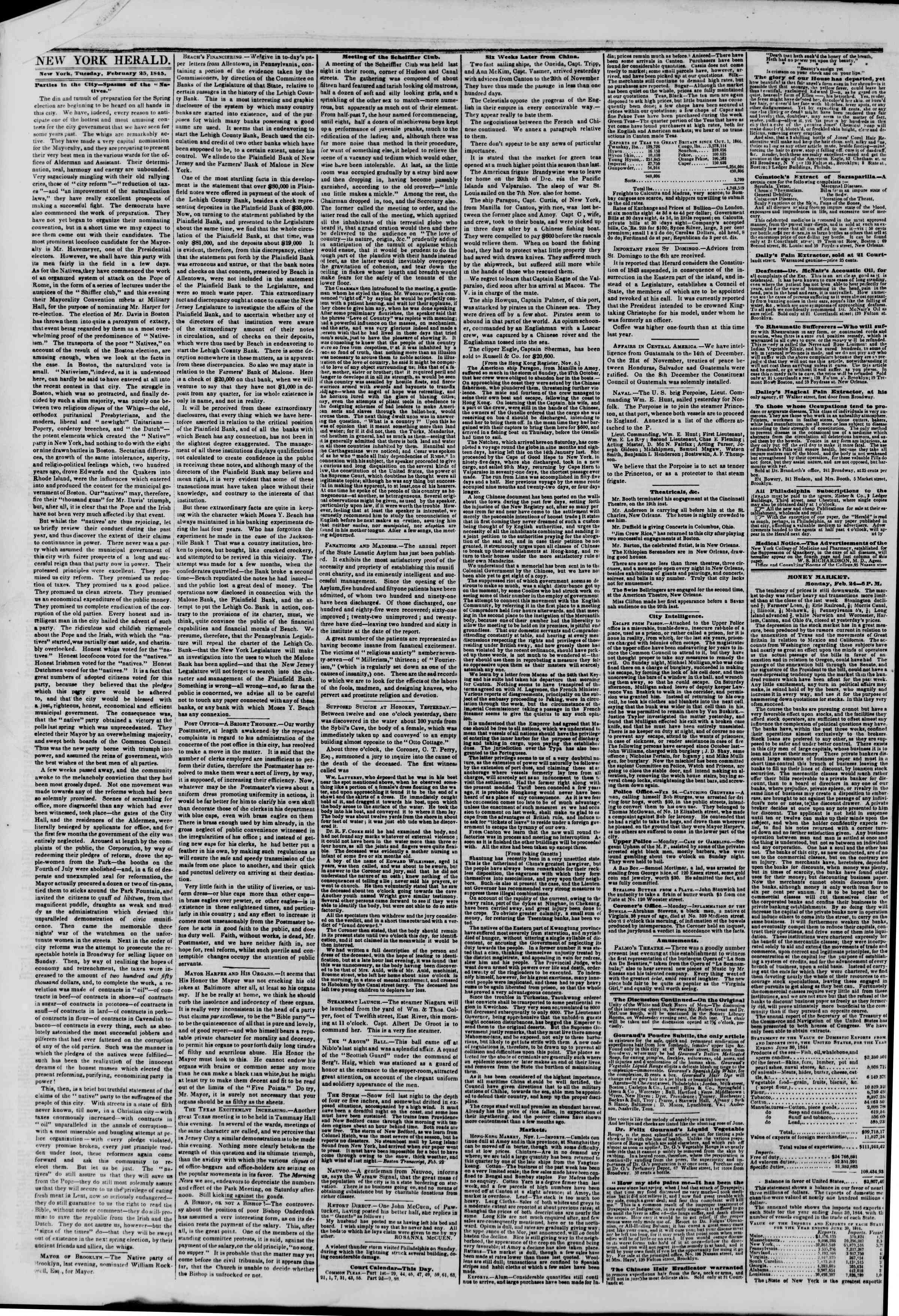 Newspaper of The New York Herald dated February 25, 1845 Page 2