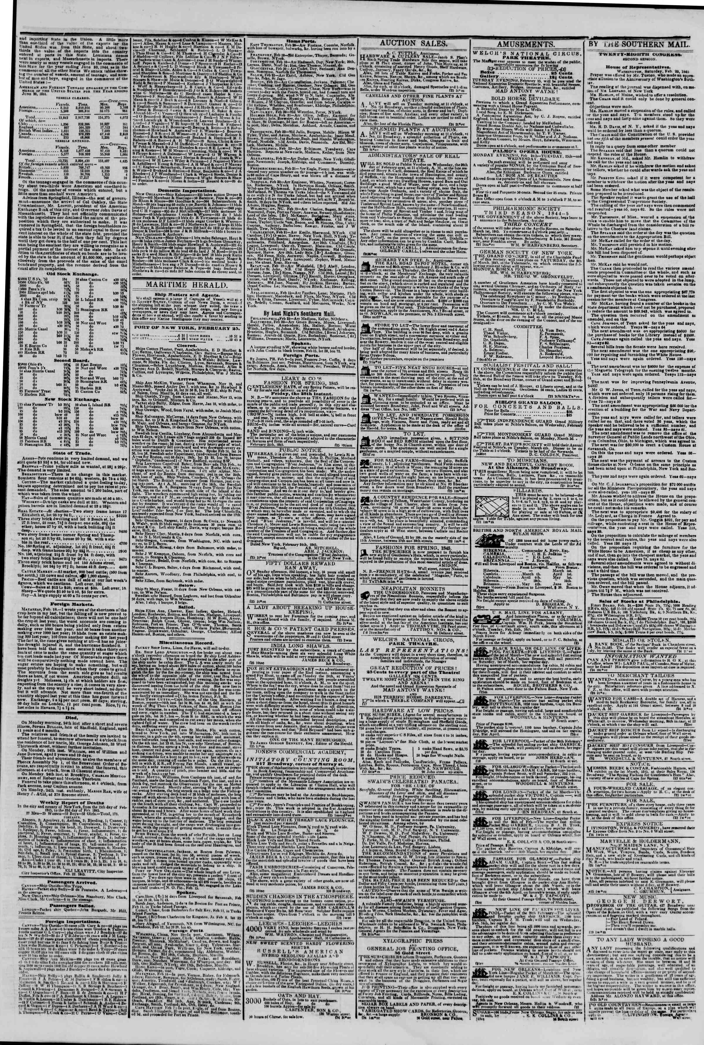 February 25, 1845 Tarihli The New York Herald Gazetesi Sayfa 3